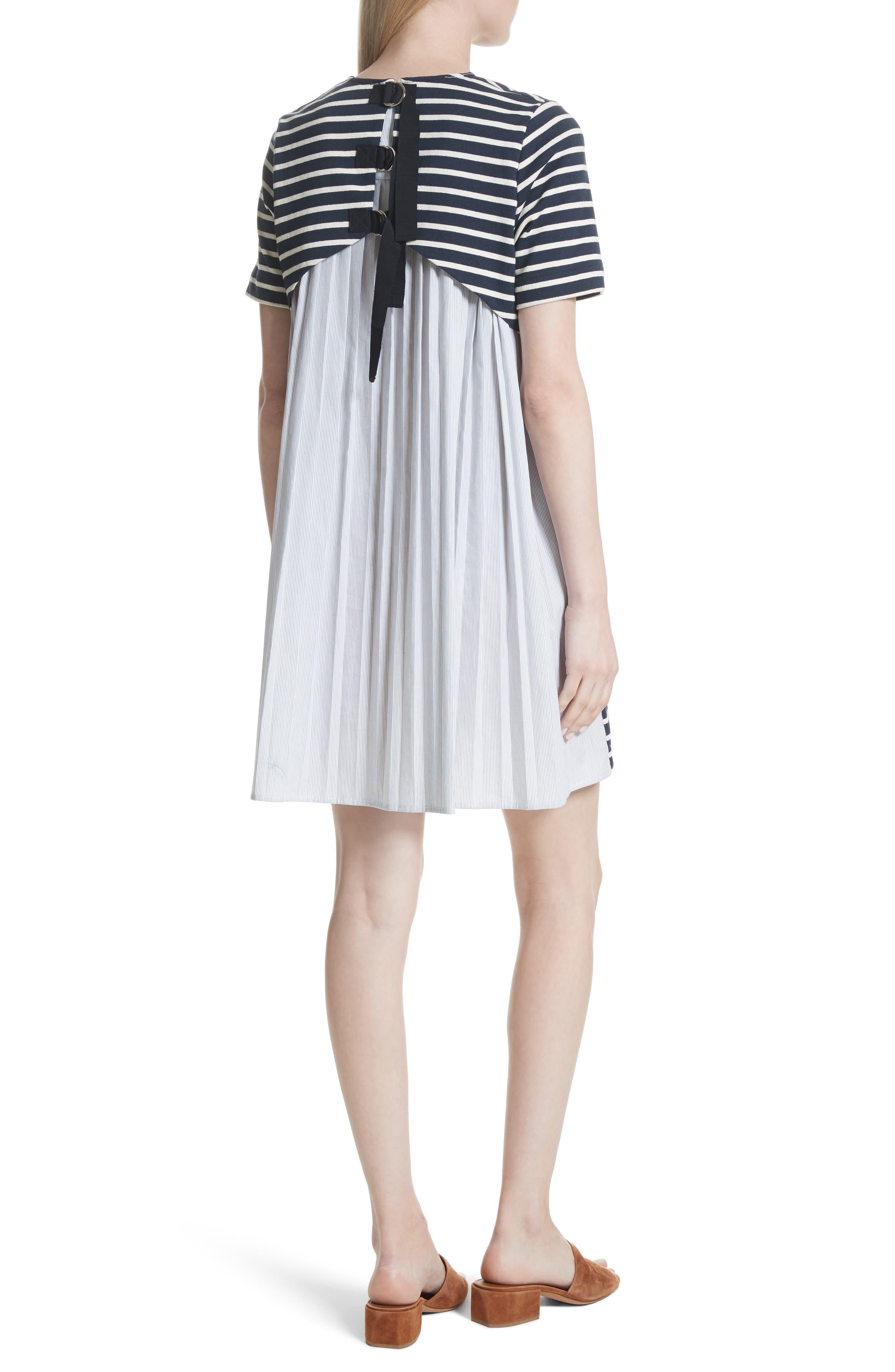 Latch Back Tunic Dress,                             Alternate thumbnail 2, color,                             Navy/ Cream Multi
