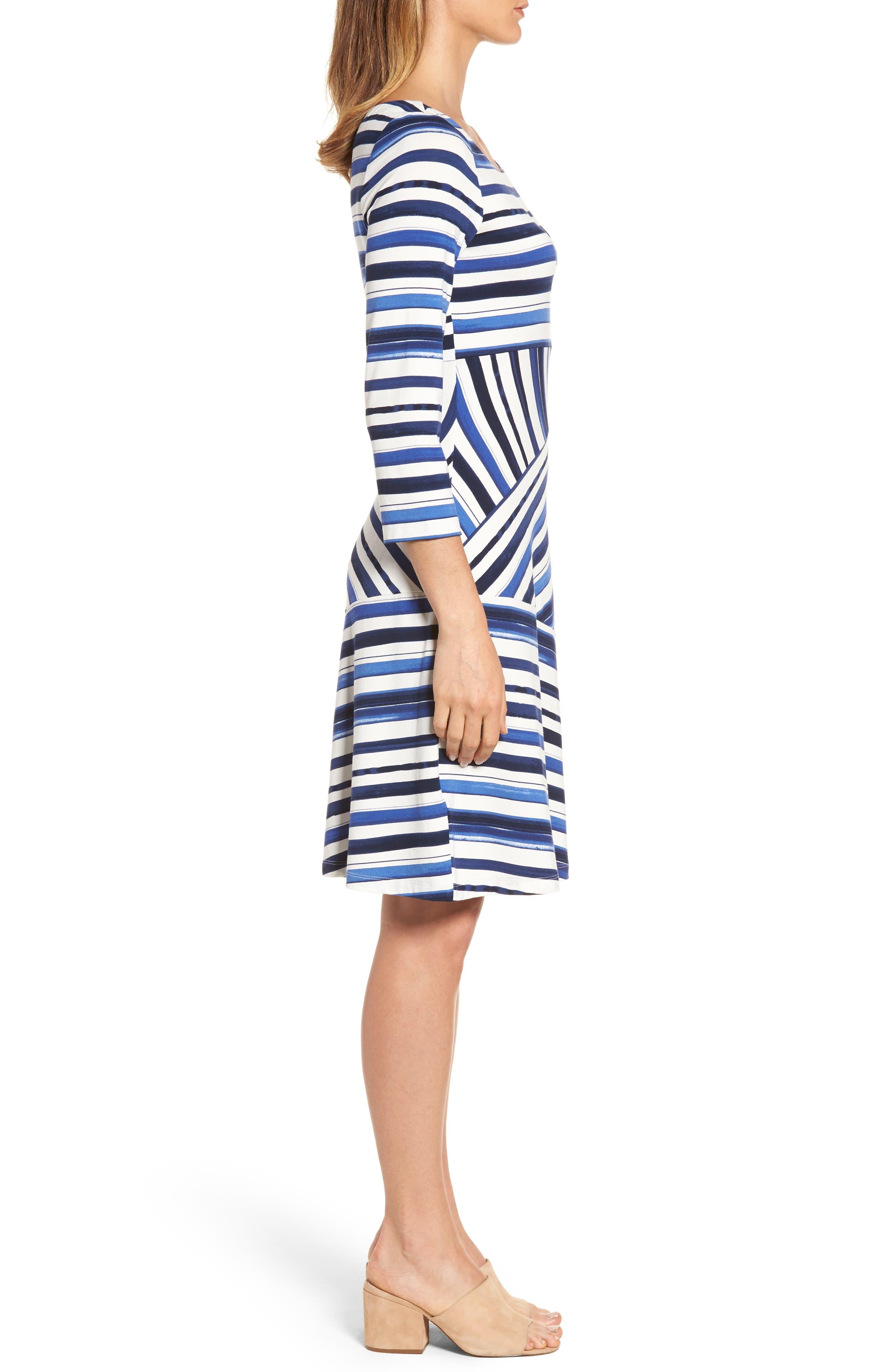 Aquarelle Stripe A-Line Dress,                             Alternate thumbnail 3, color,                             Eclipse
