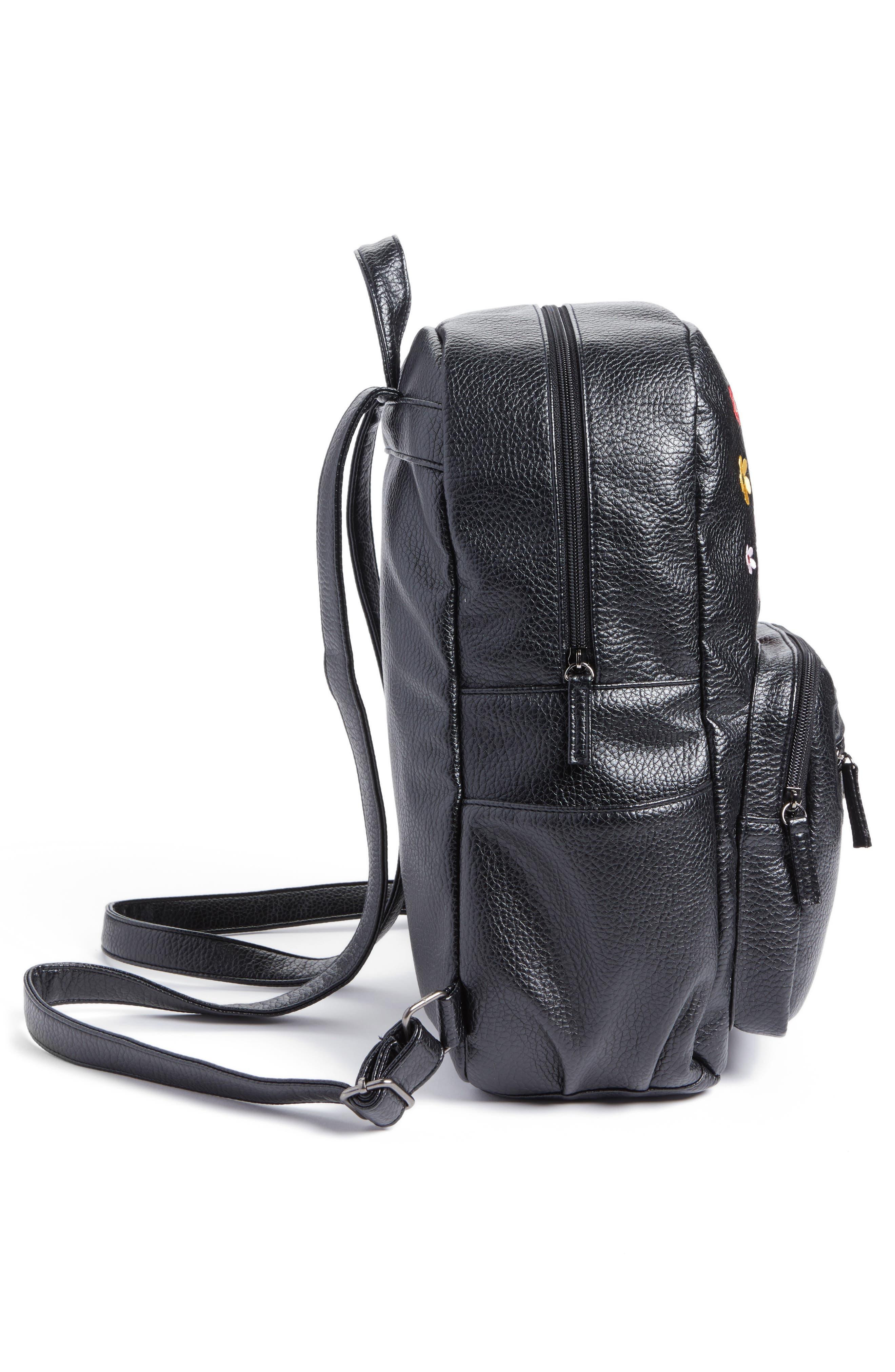 Embroidered Backpack,                             Alternate thumbnail 3, color,                             Black