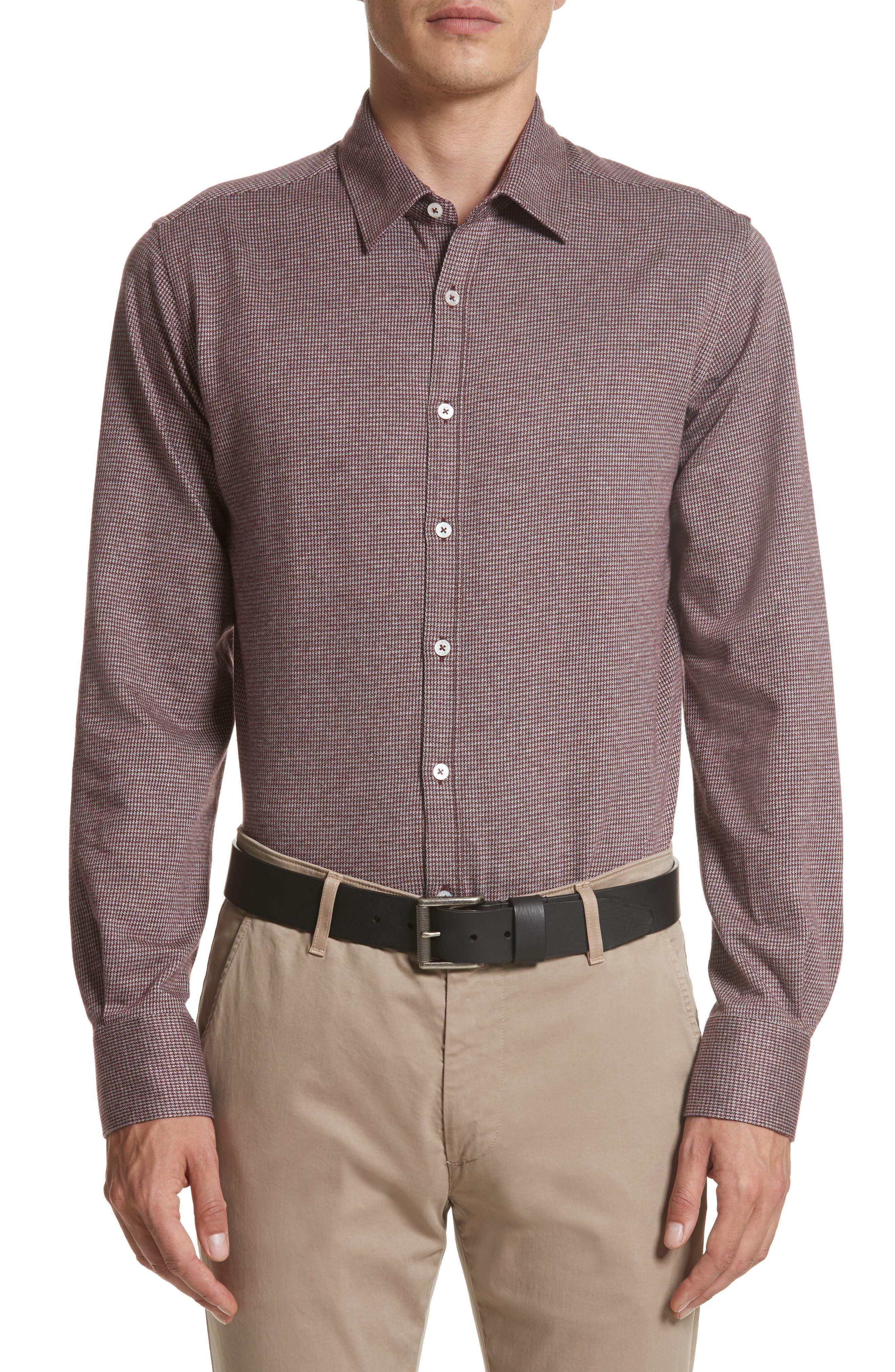 Slim Fit Houndstooth Sport Shirt,                         Main,                         color, Medium Red