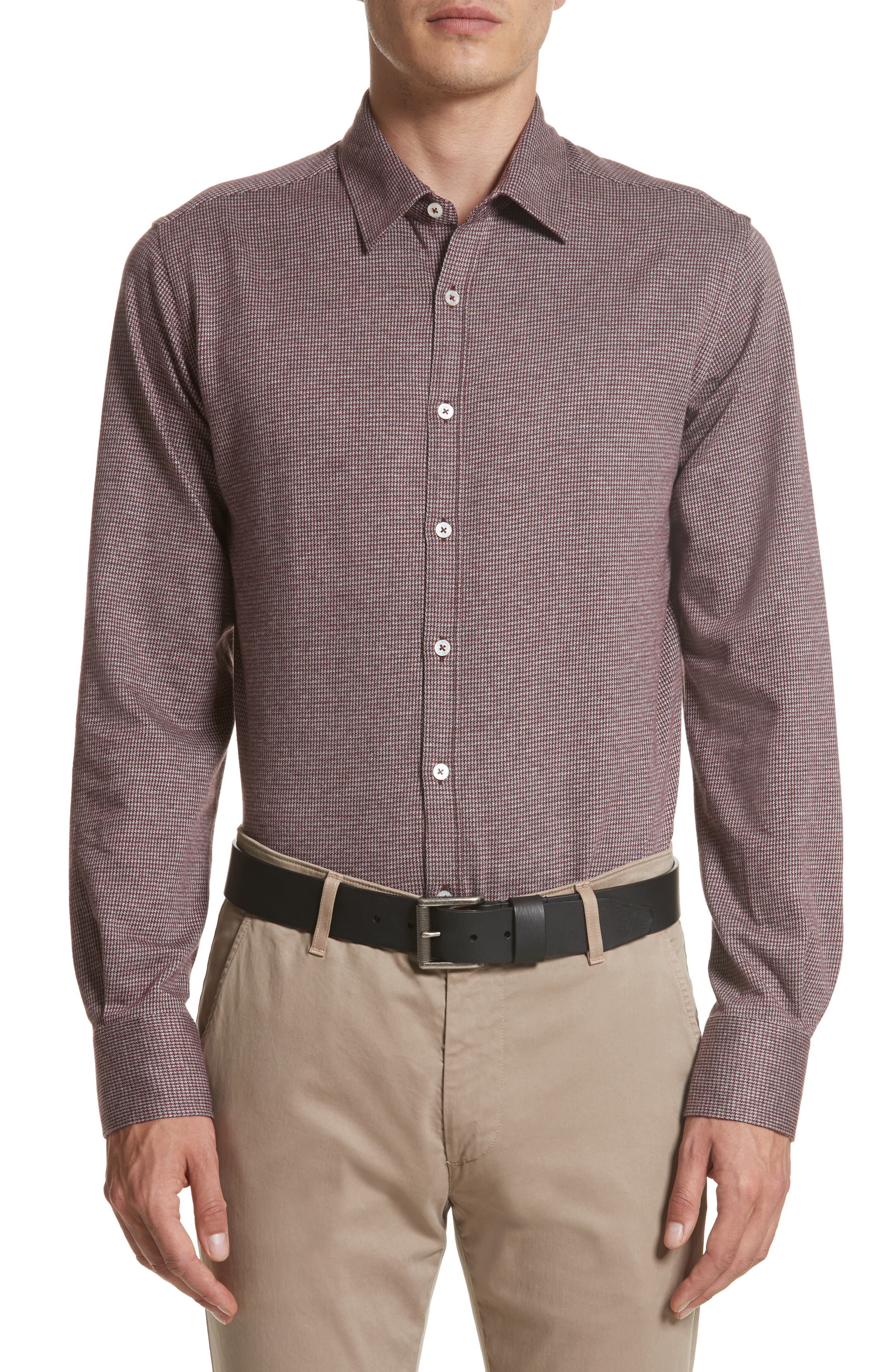 Canali Slim Fit Houndstooth Sport Shirt