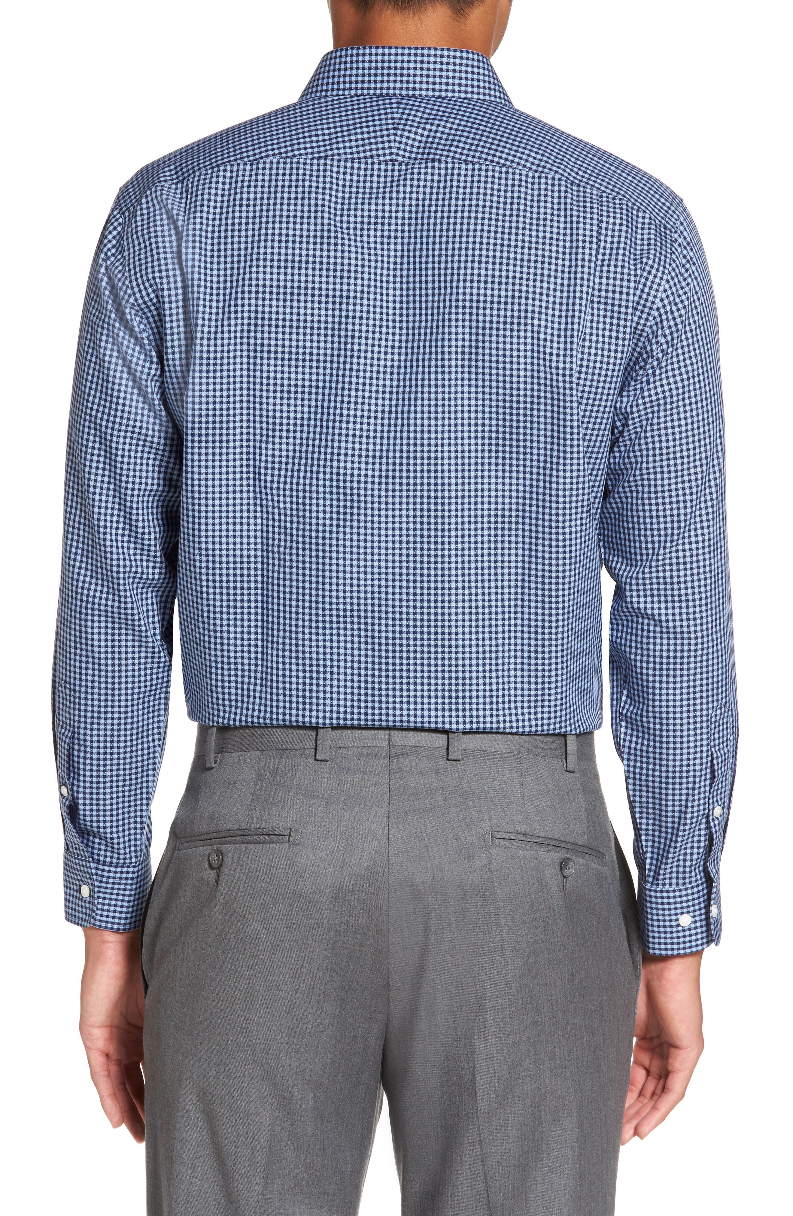 Smartcare<sup>™</sup> Trim Fit Check Dress Shirt,                             Alternate thumbnail 3, color,                             Blue Medieval