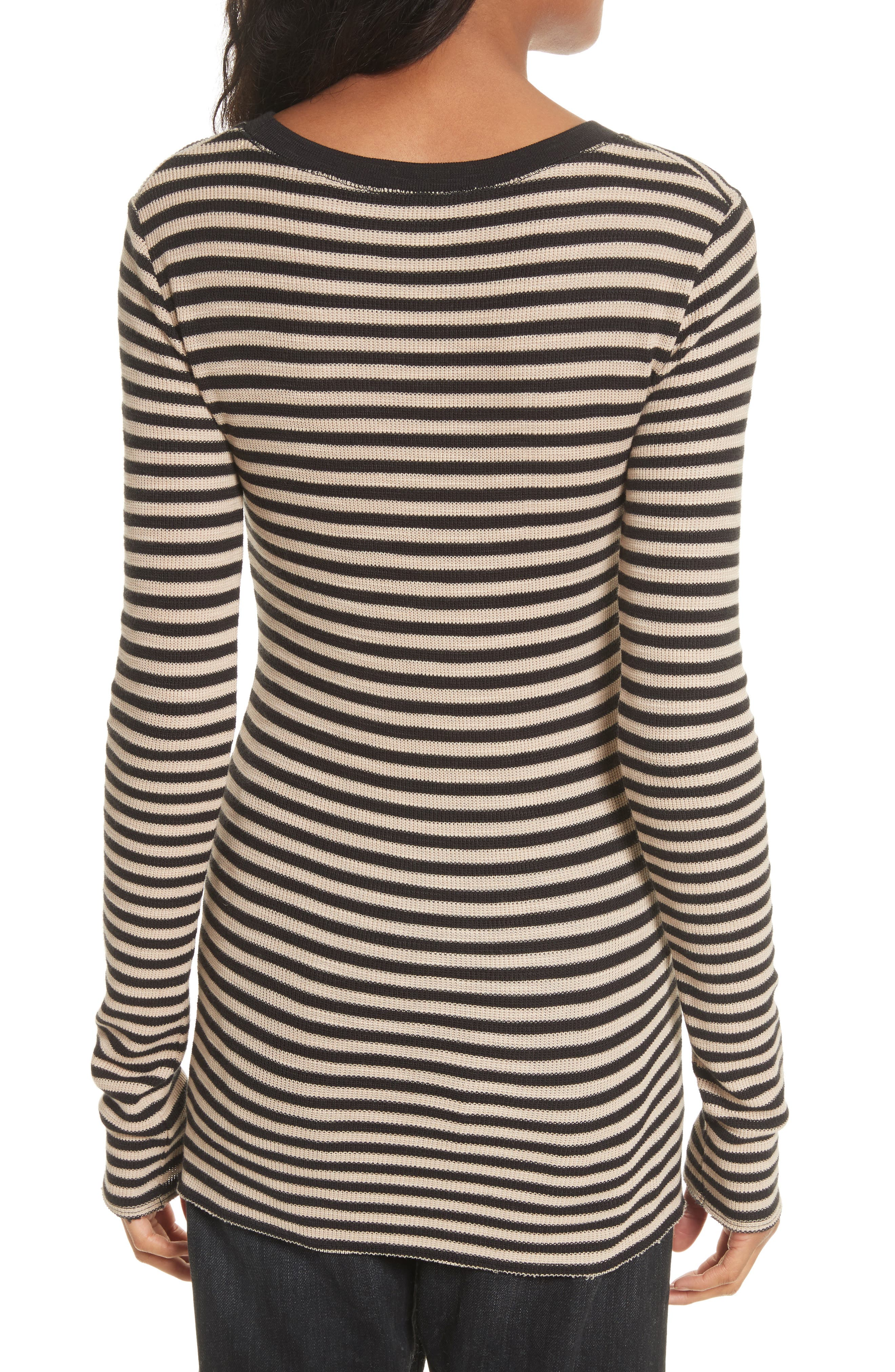 Railroad Stripe Crewneck Sweater,                             Alternate thumbnail 4, color,                             Taupe/ Black