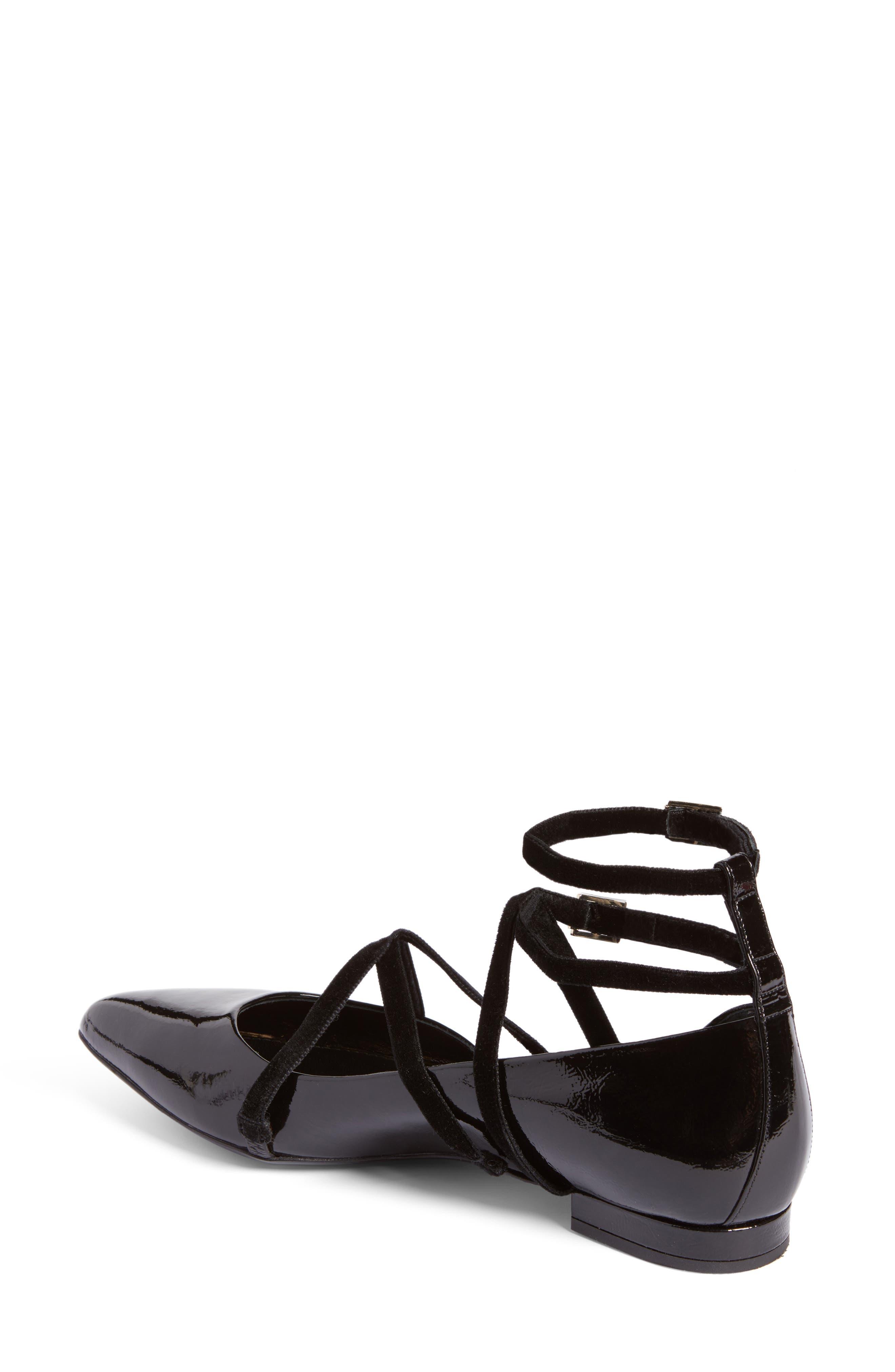 Strappy Ballet Flat,                             Alternate thumbnail 2, color,                             Black