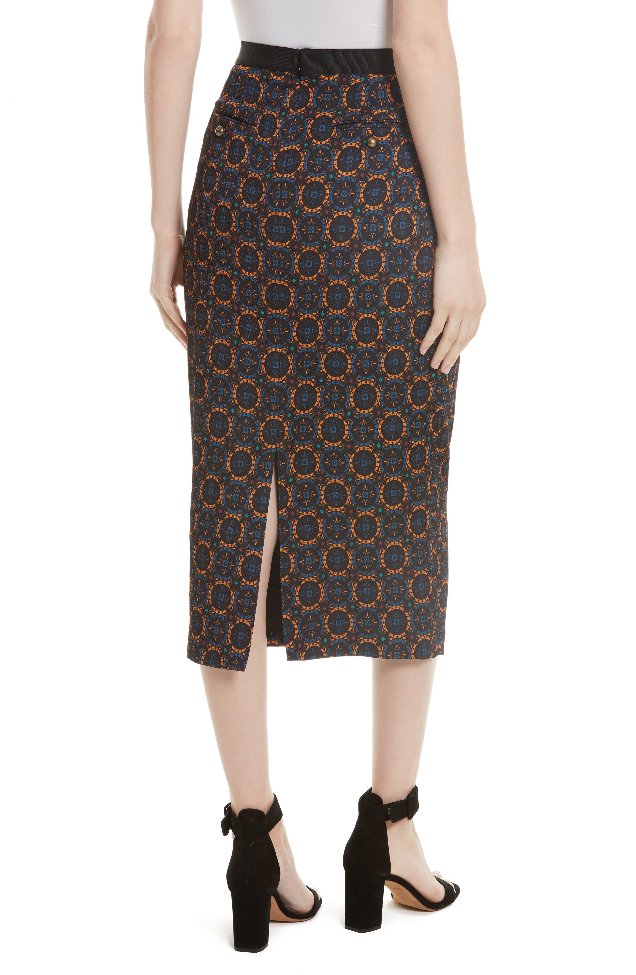 Print Stretch Silk Pencil Skirt,                             Alternate thumbnail 2, color,                             Foulard Placement