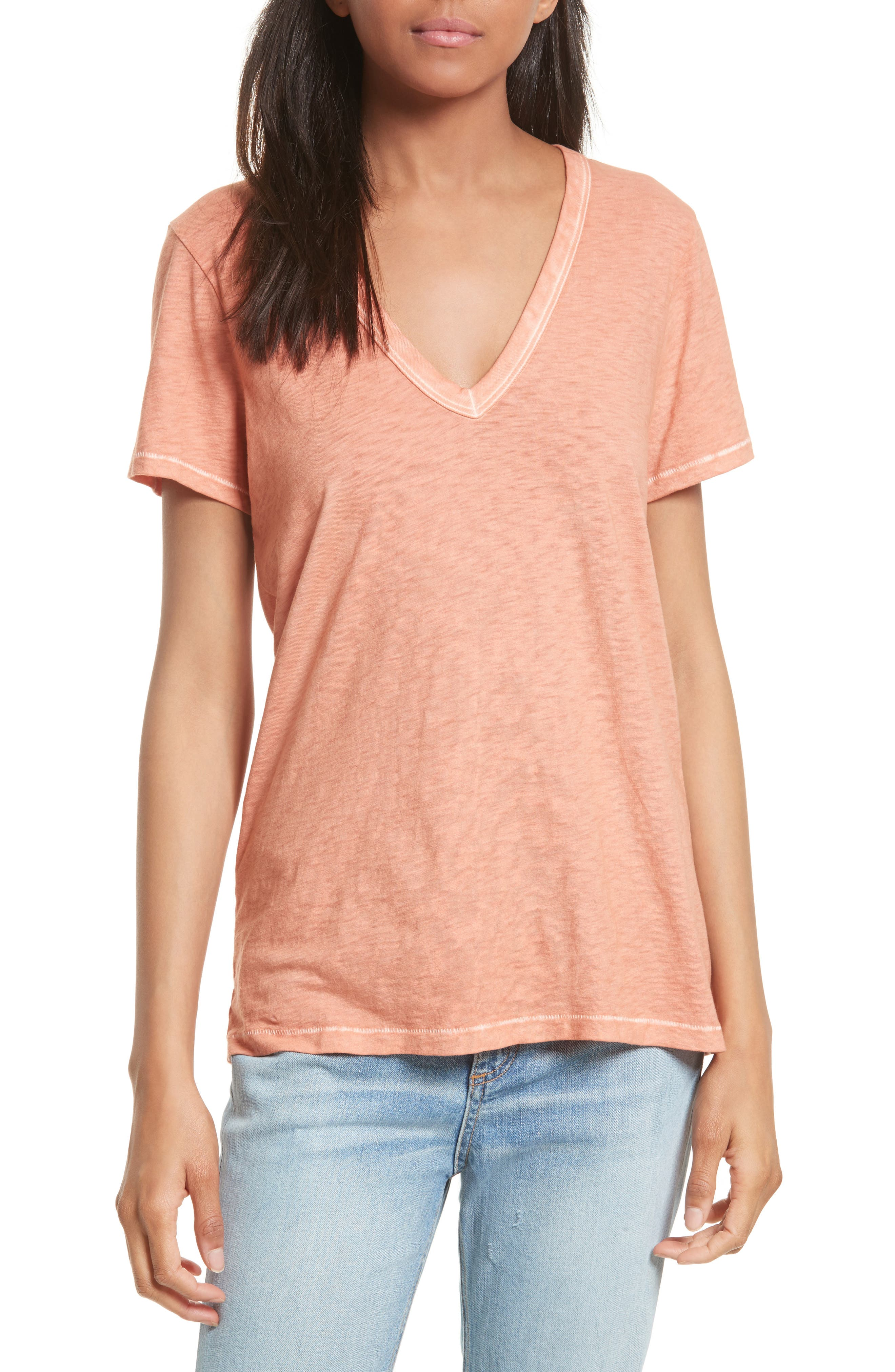 Sublime Wash Cotton Tee,                         Main,                         color, Sunset