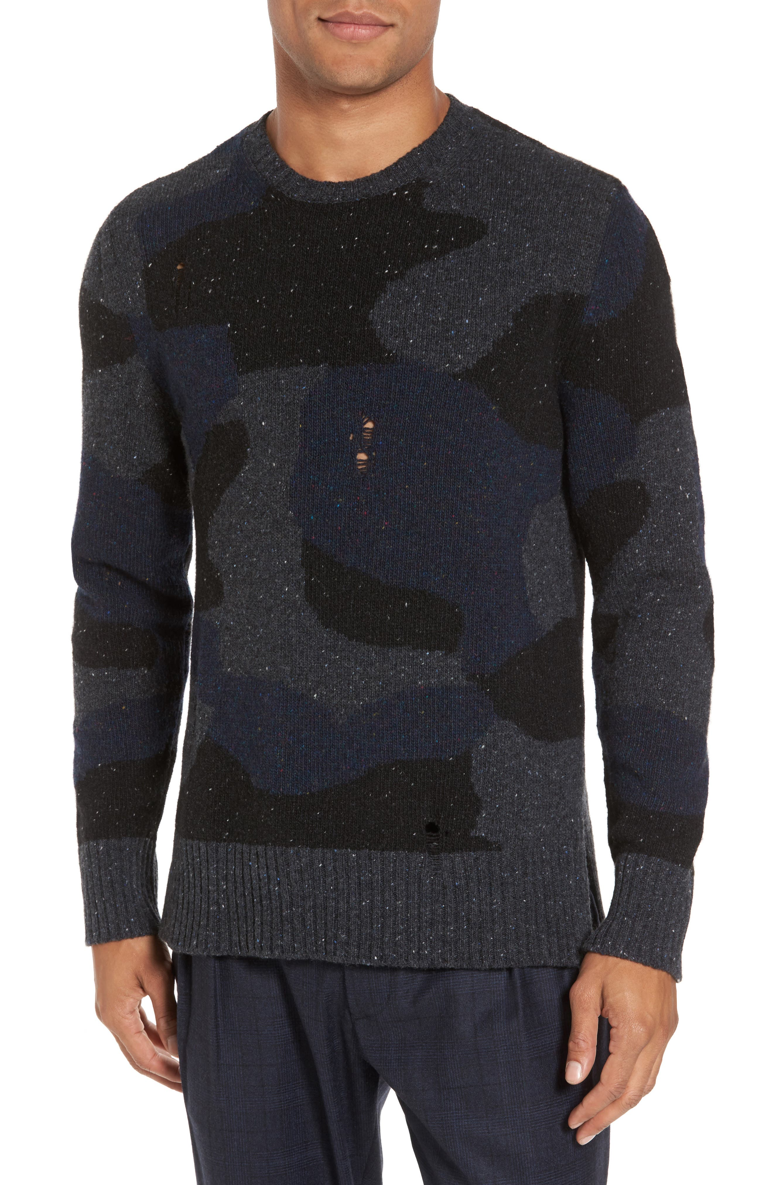 Eleventy Distressed Donegal Camo Wool Sweater