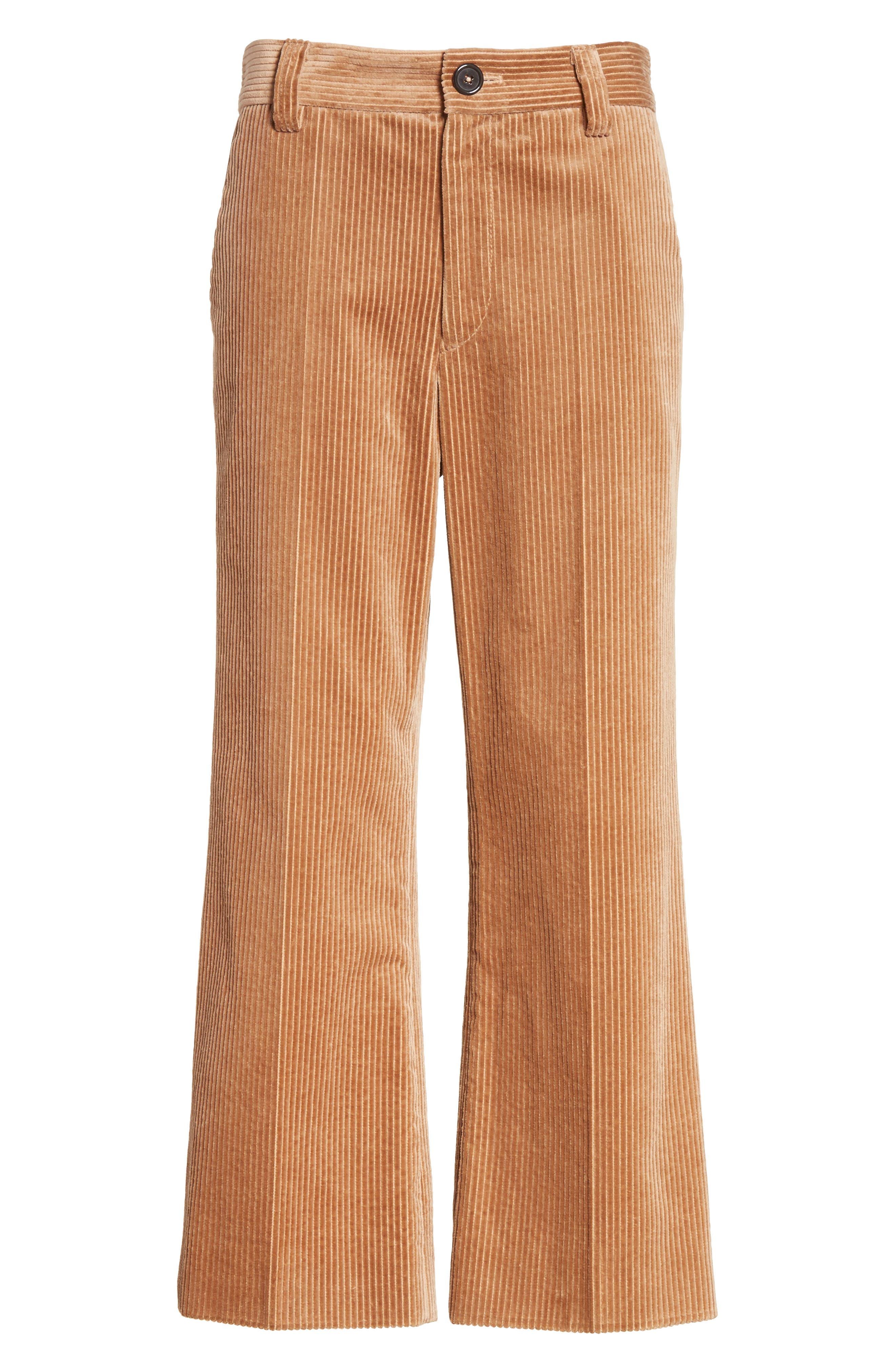 Corduroy Wide Leg Crop Pants,                             Alternate thumbnail 7, color,                             Sand