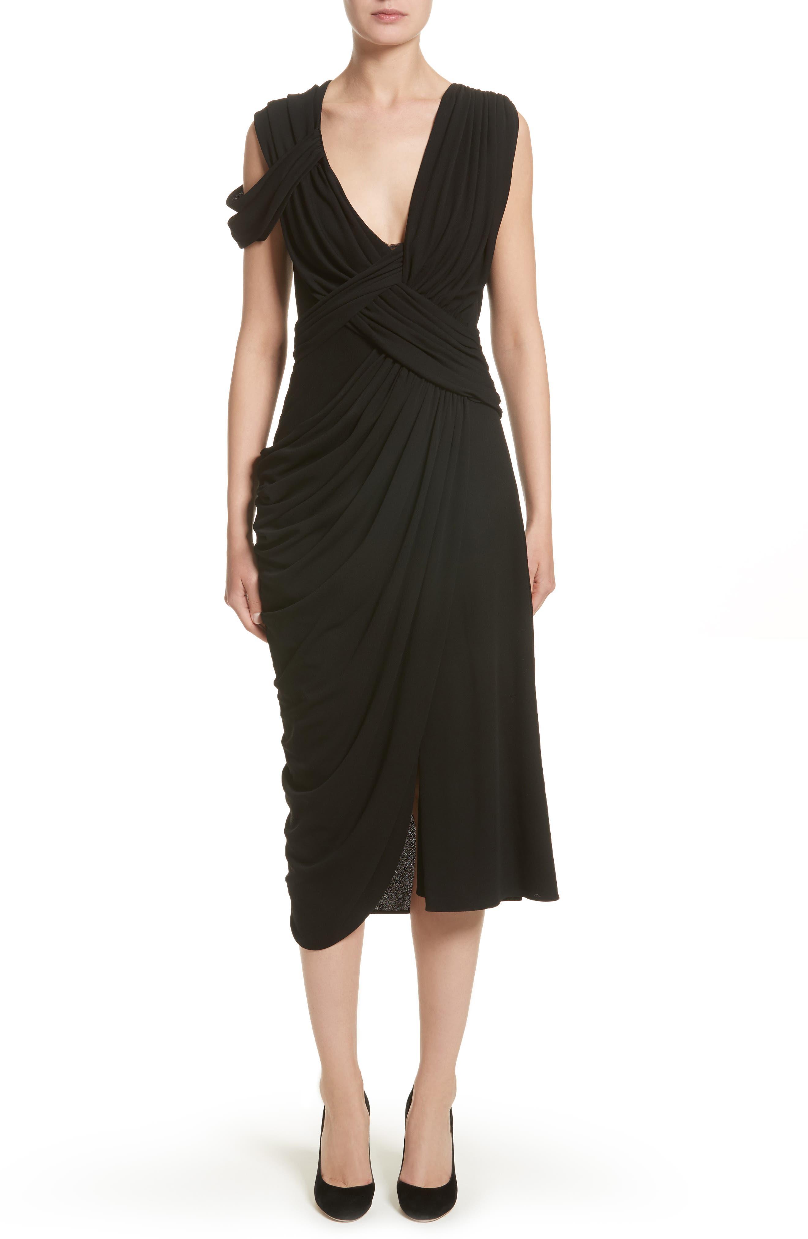 Draped Jersey Cocktail Dress,                             Main thumbnail 1, color,                             Black