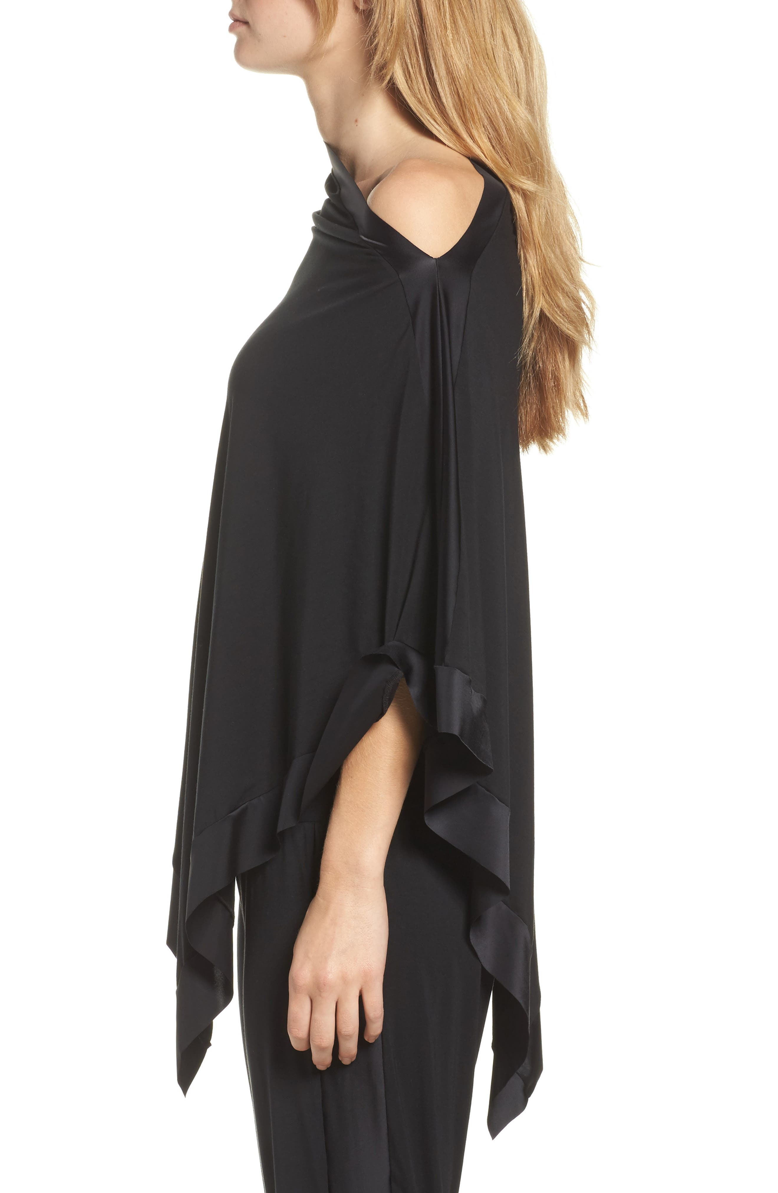 Butter & Satin Asymmetrical Poncho,                             Alternate thumbnail 3, color,                             Midnight