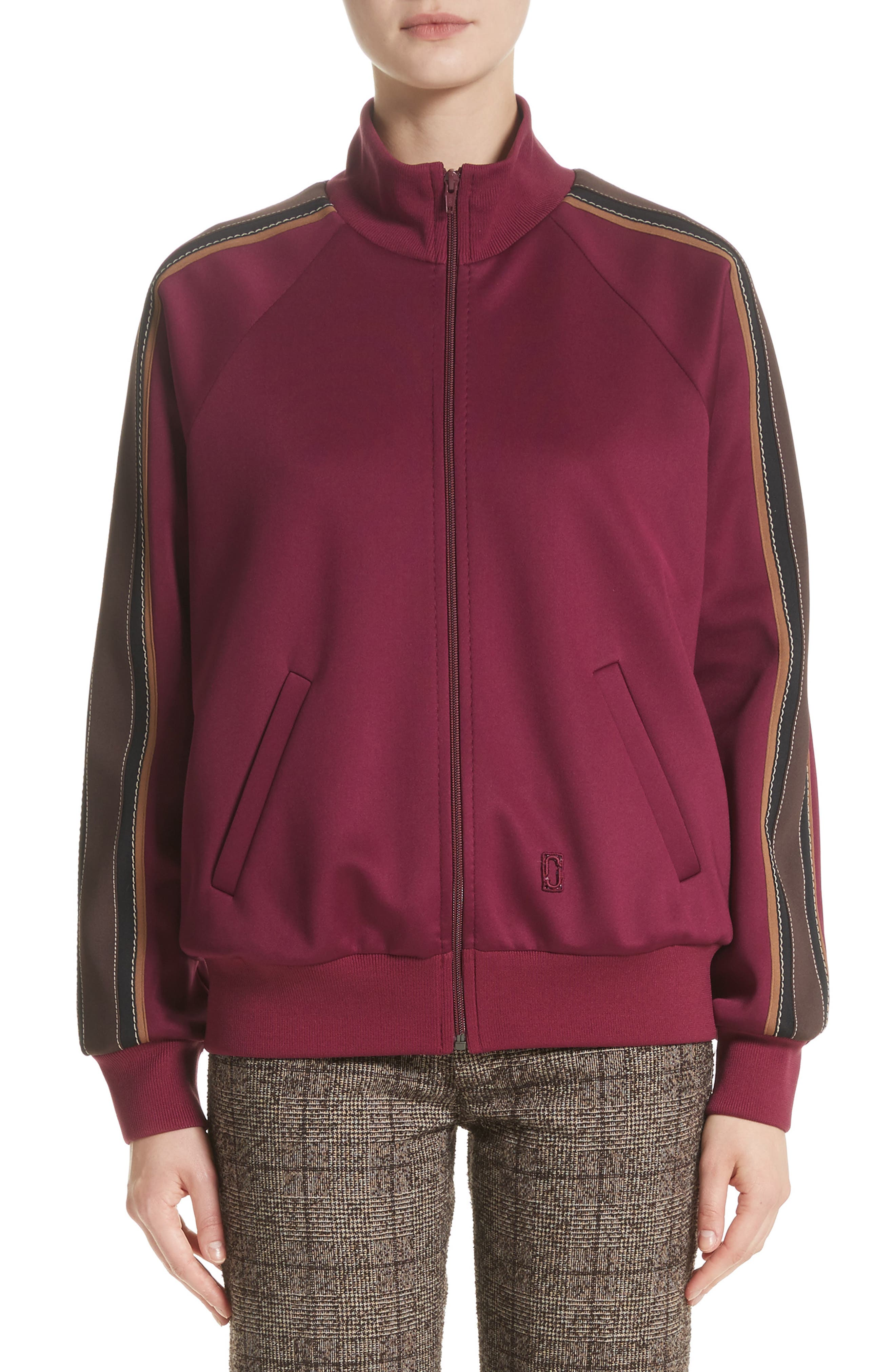 Zip Jersey Track Jacket,                             Main thumbnail 1, color,                             Burgundy Multi