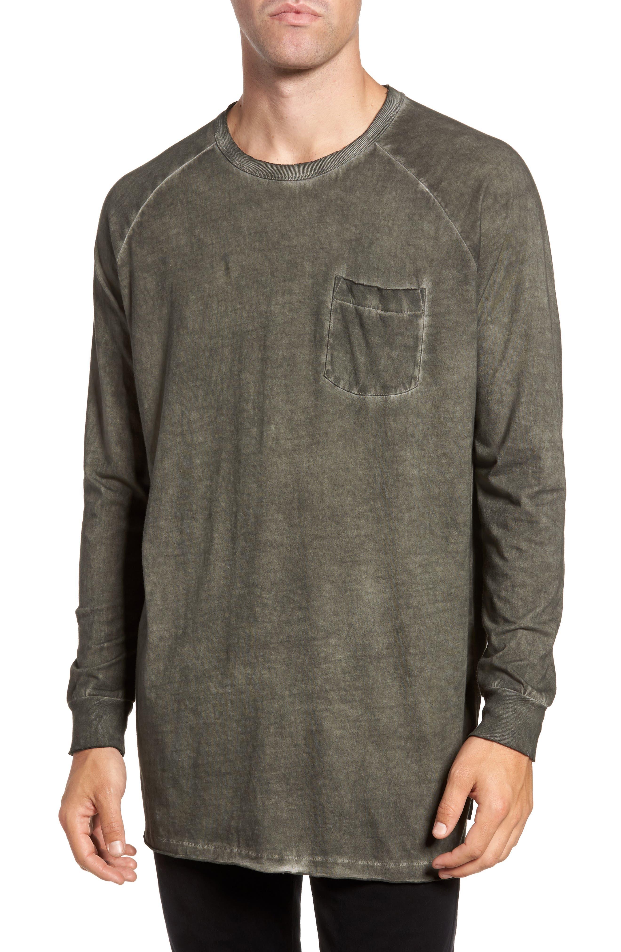 Pigment Dye Longline T-Shirt,                         Main,                         color, Forest