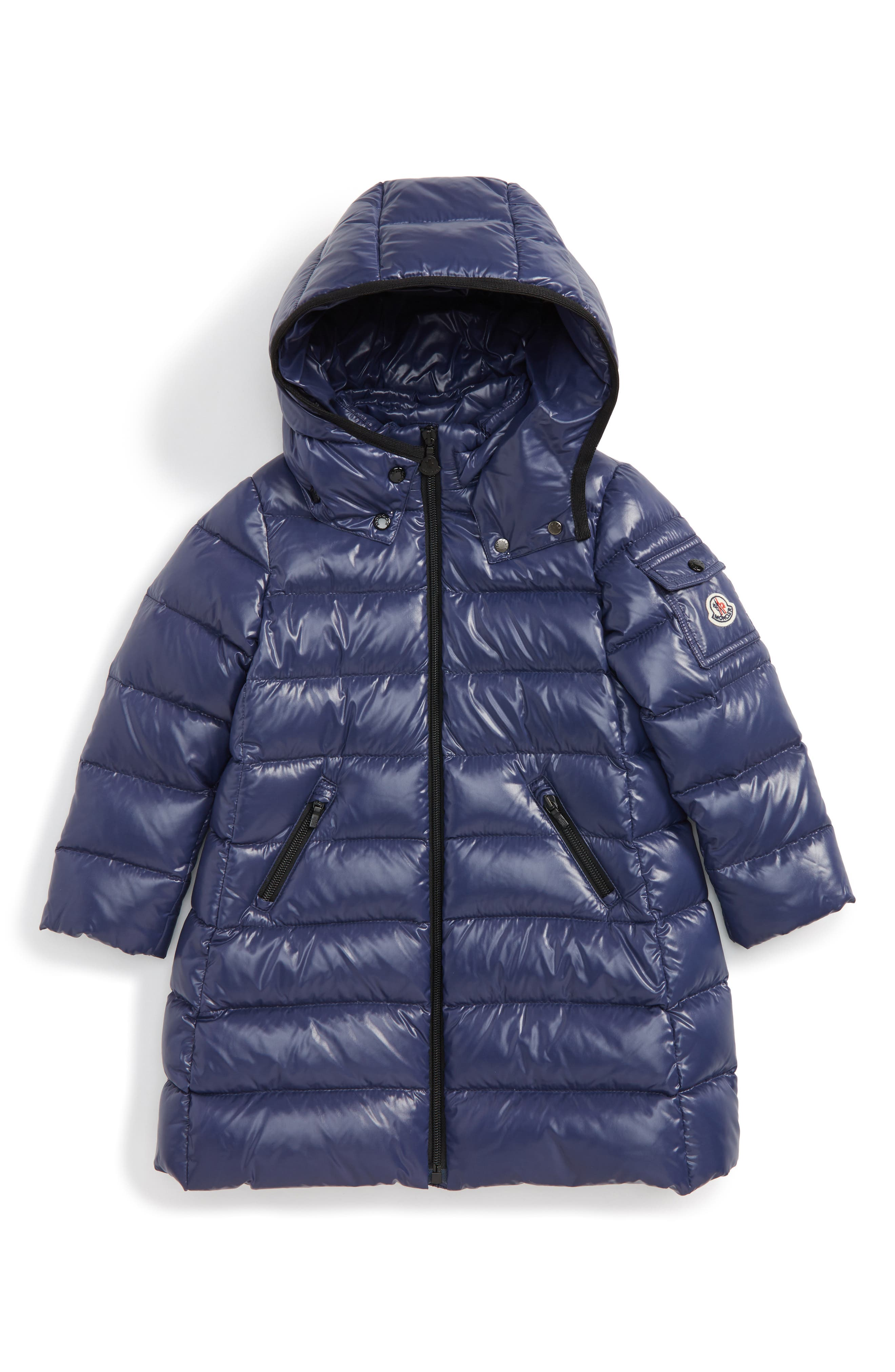 Moka Long Hooded Waterproof Down Jacket,                             Main thumbnail 1, color,                             Navy