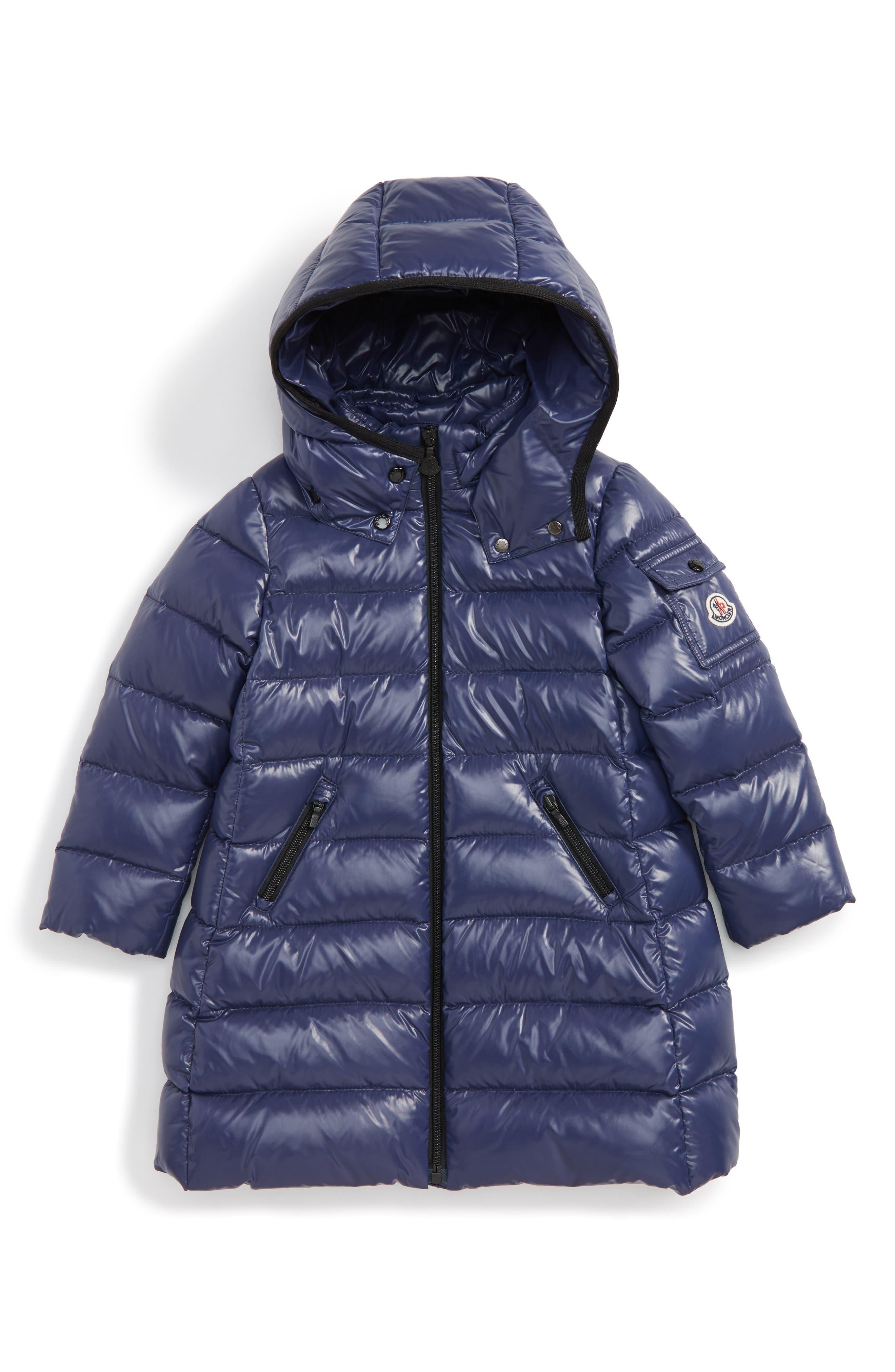 Main Image - Moncler Moka Long Hooded Waterproof Down Jacket (Toddler Girls)
