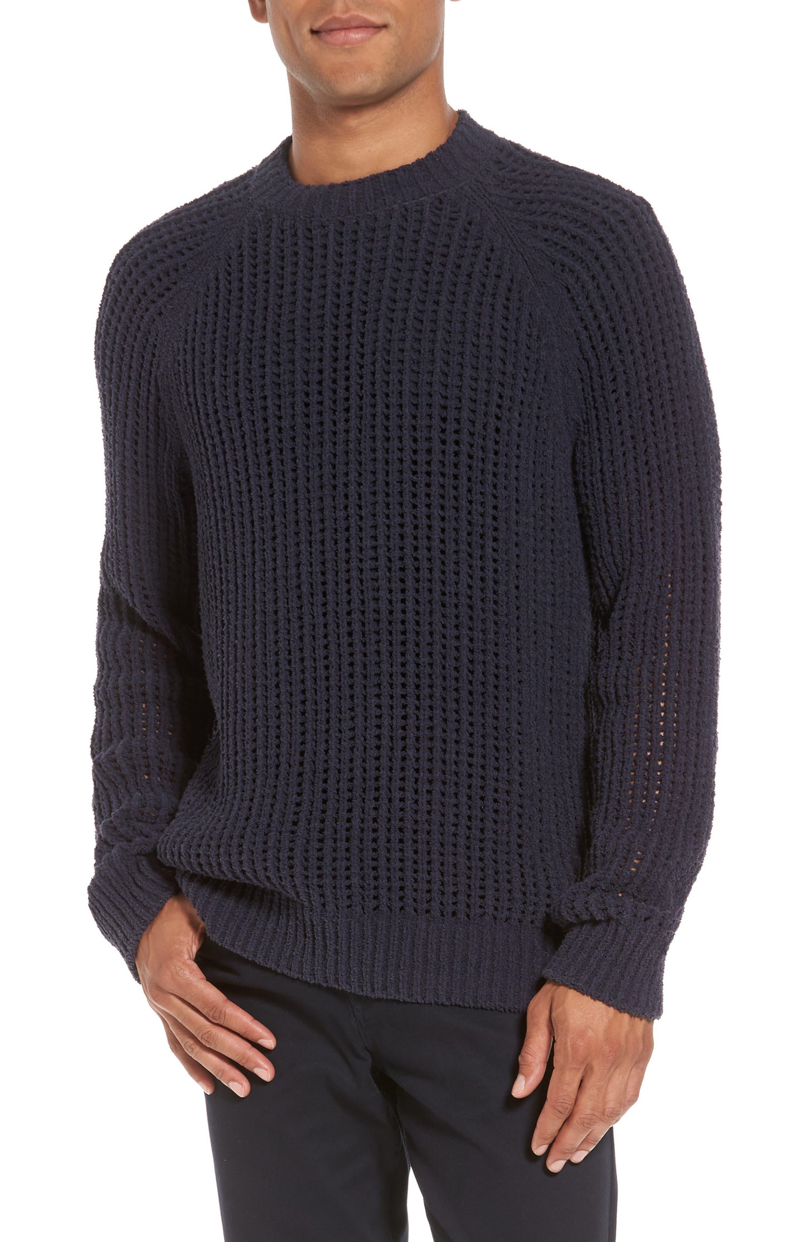 Open Weave Raglan Sweater,                         Main,                         color, Coastal