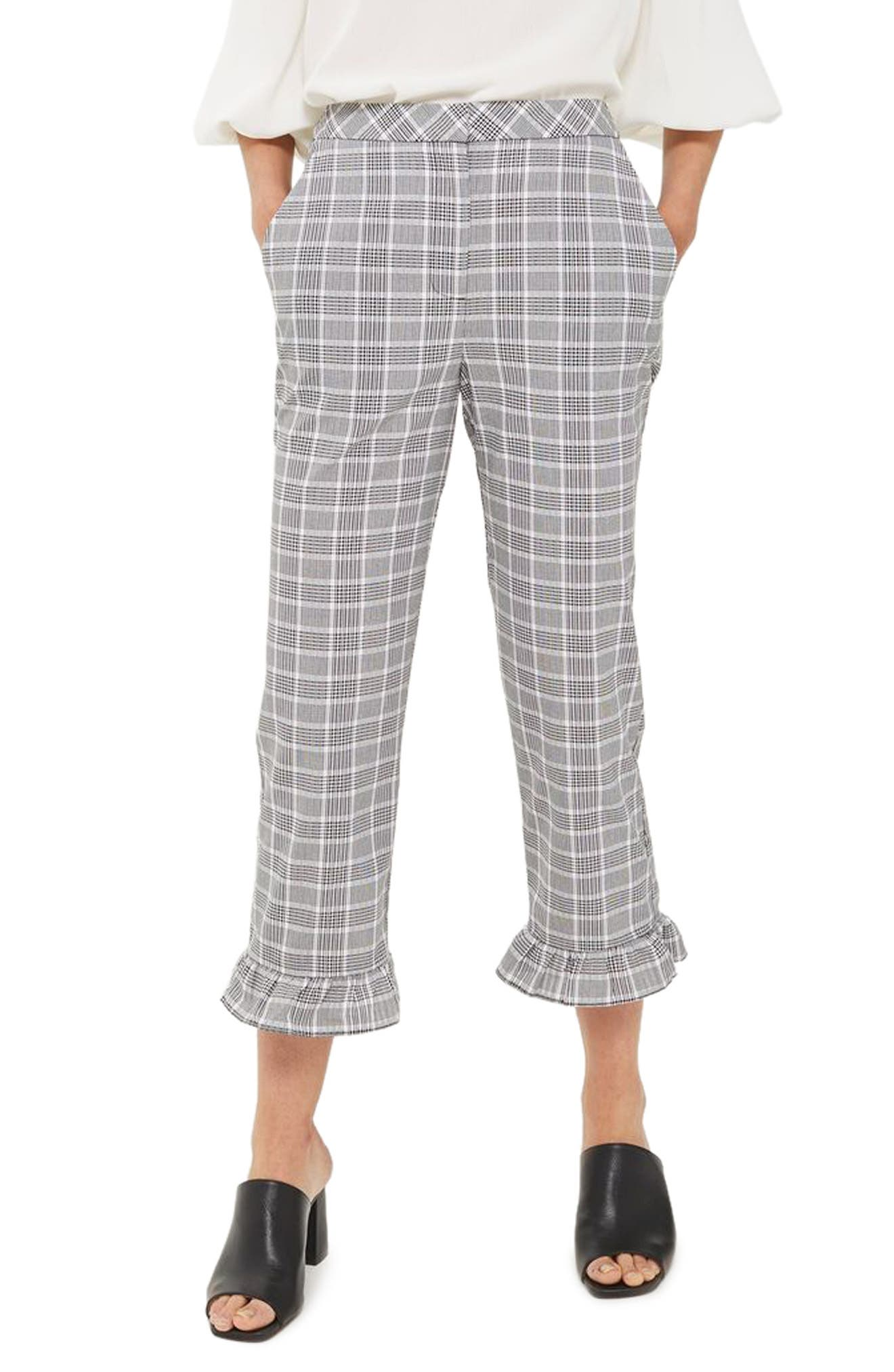 Main Image - Topshop Slim Fit Check Ruffle Capri Pants