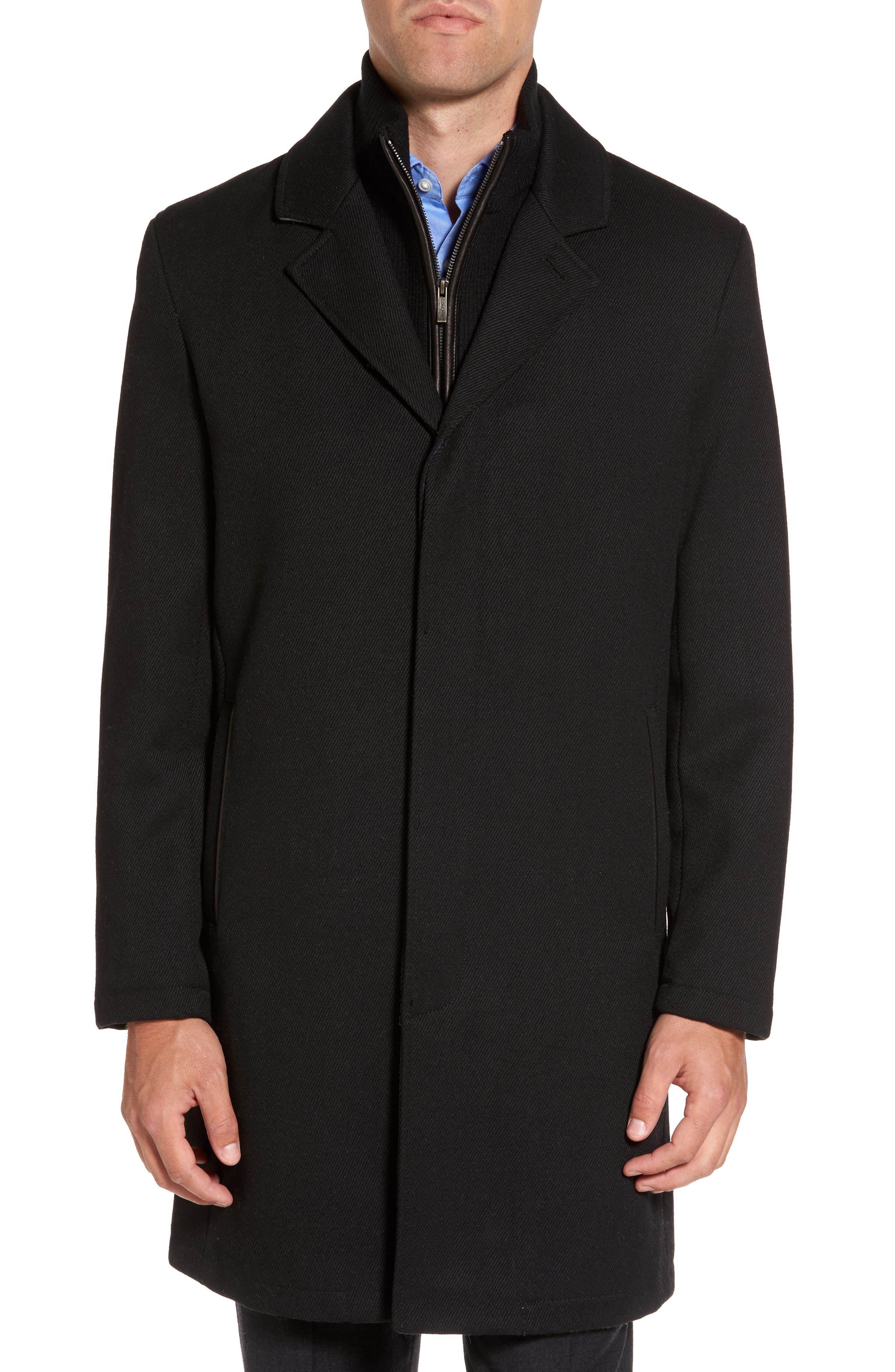 Modern Twill Topcoat with Removable Bib,                             Main thumbnail 1, color,                             Black
