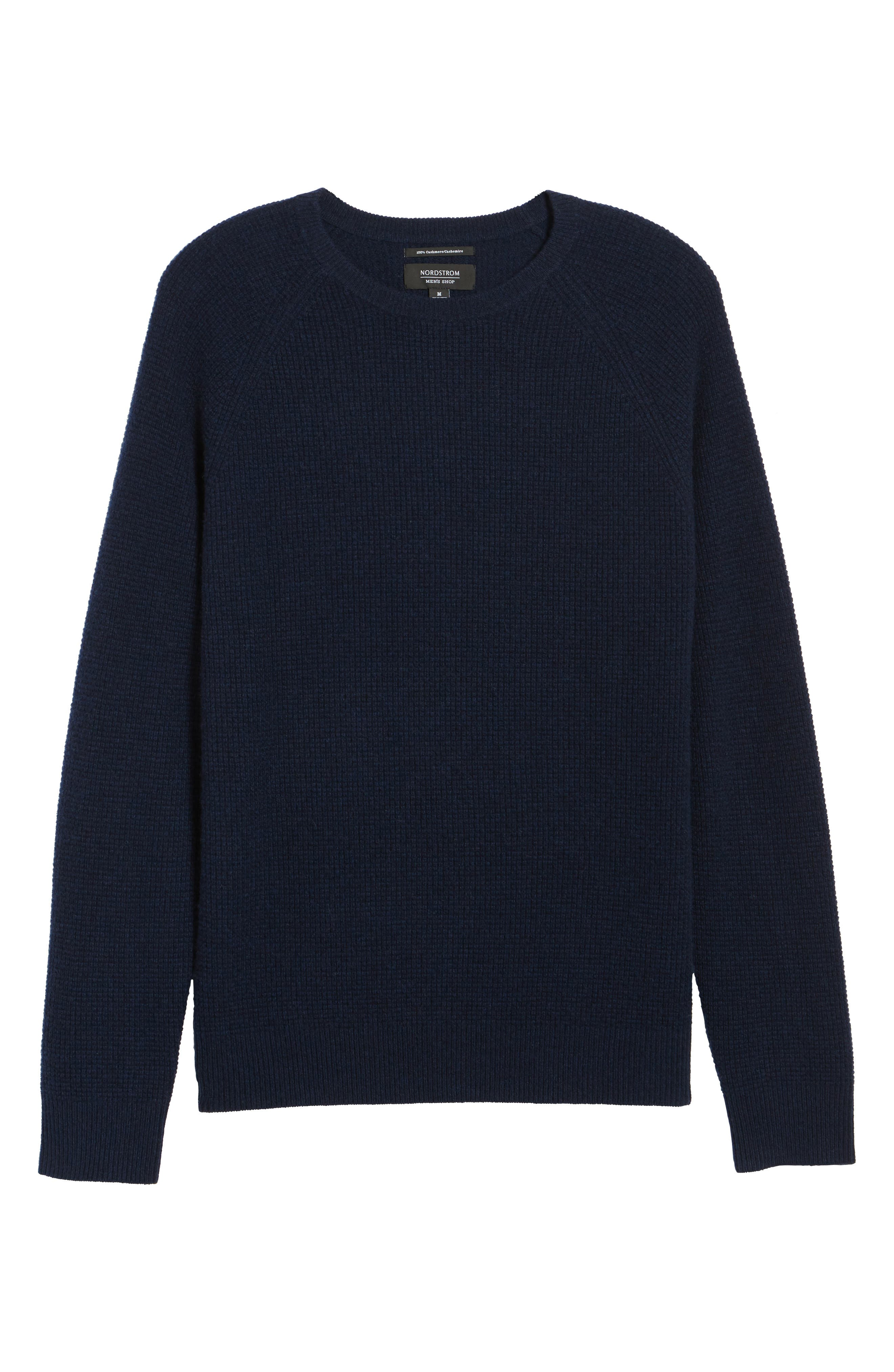 Cashmere Waffle Knit Pullover,                             Alternate thumbnail 6, color,                             Navy Charcoal