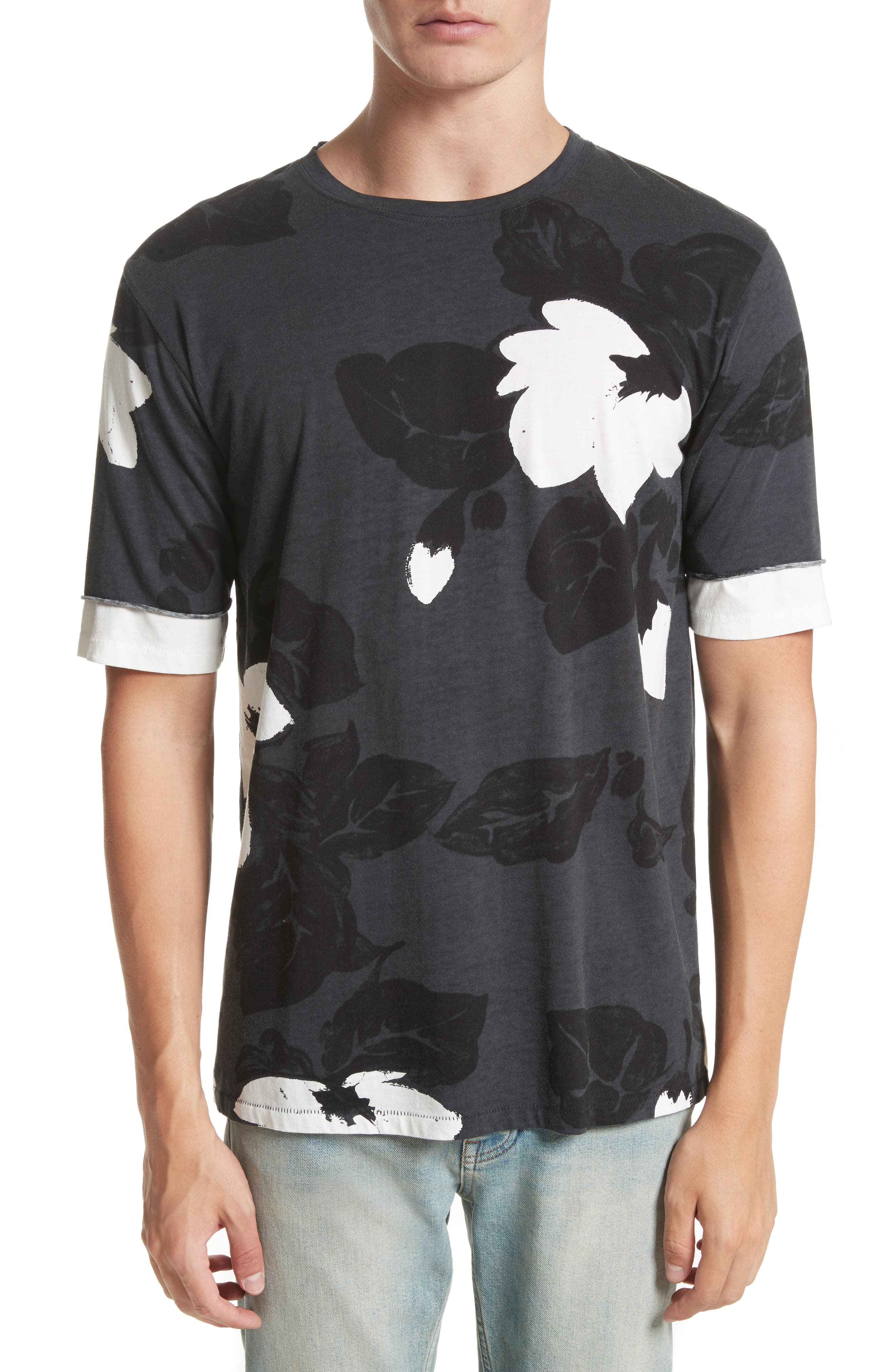 Double Sleeve Floral T-Shirt,                         Main,                         color, Soft Black