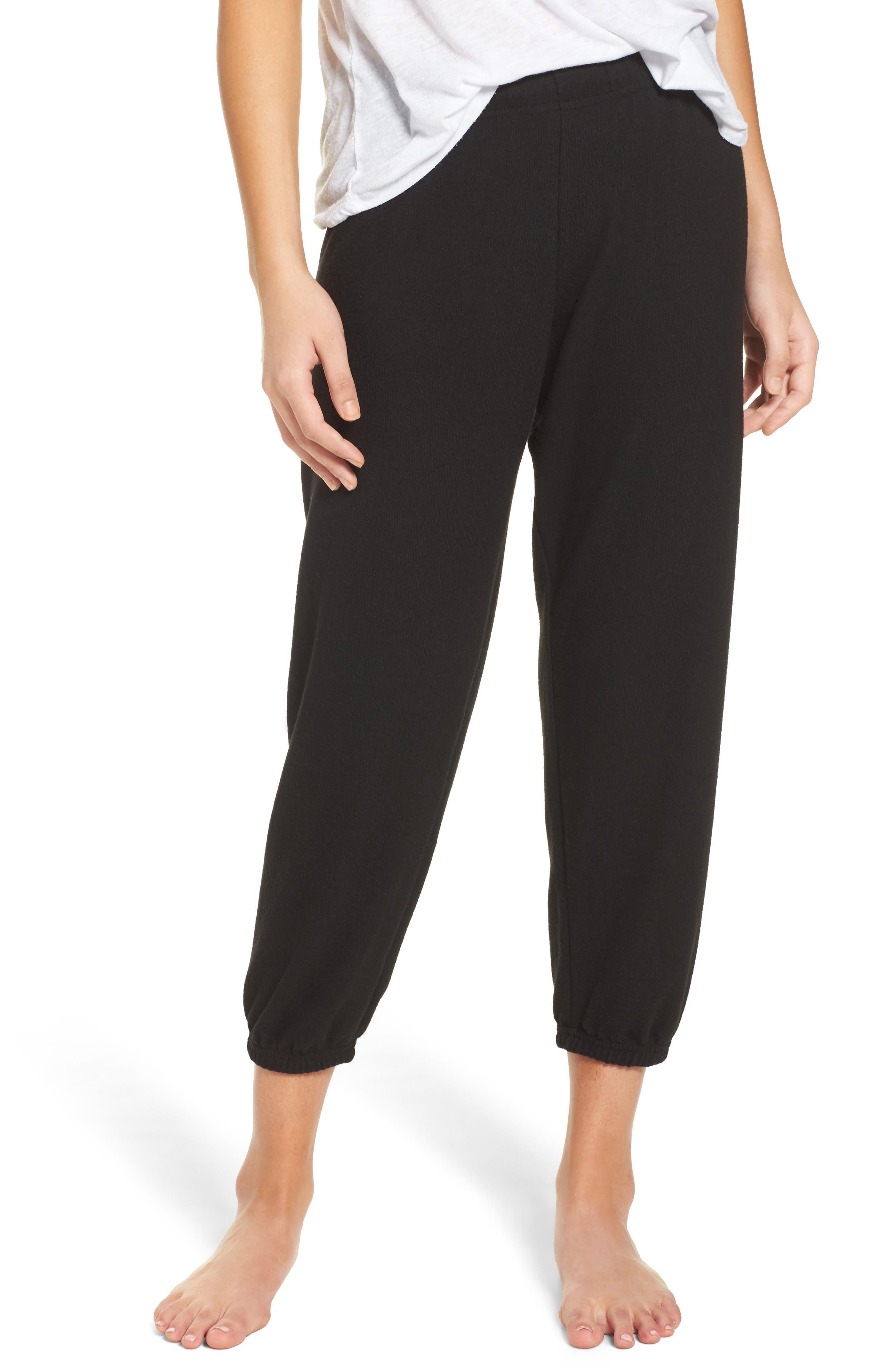 'Nate' Crop Sweatpants,                         Main,                         color, Jet Black