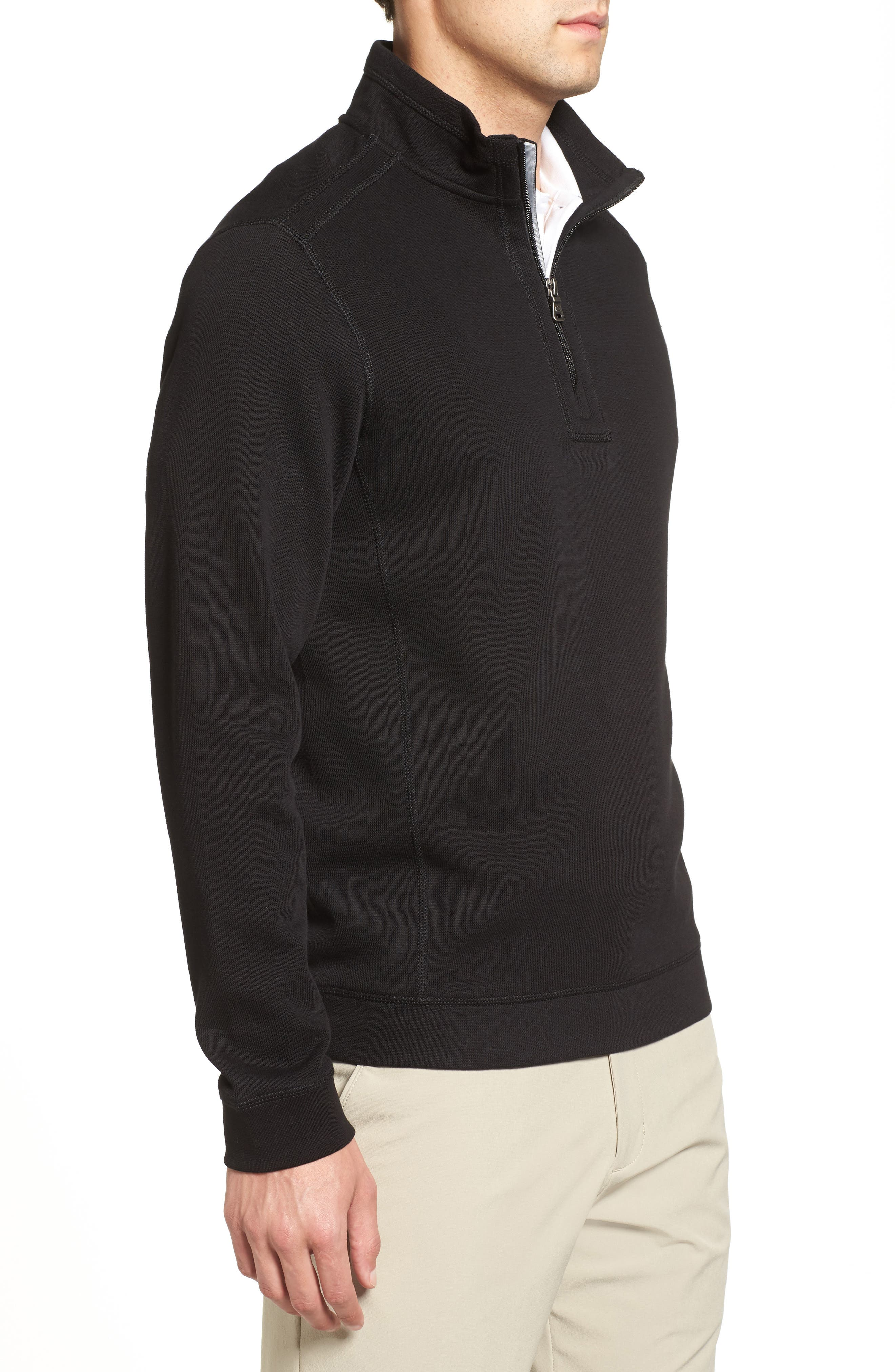 Bayview Quarter Zip Pullover,                             Alternate thumbnail 3, color,                             Black