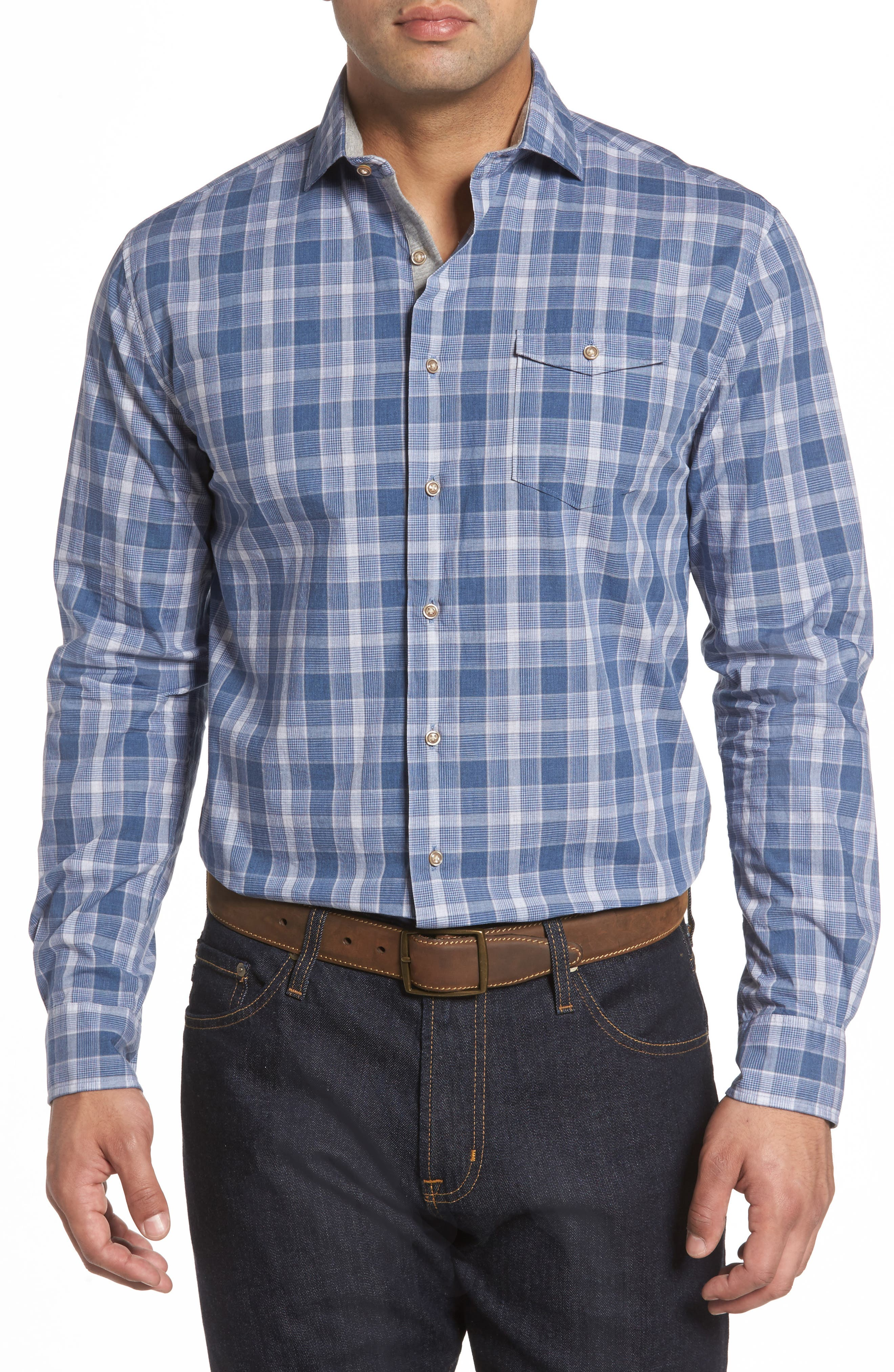 Highlands Classic Fit Plaid Sport Shirt,                         Main,                         color, Abyss