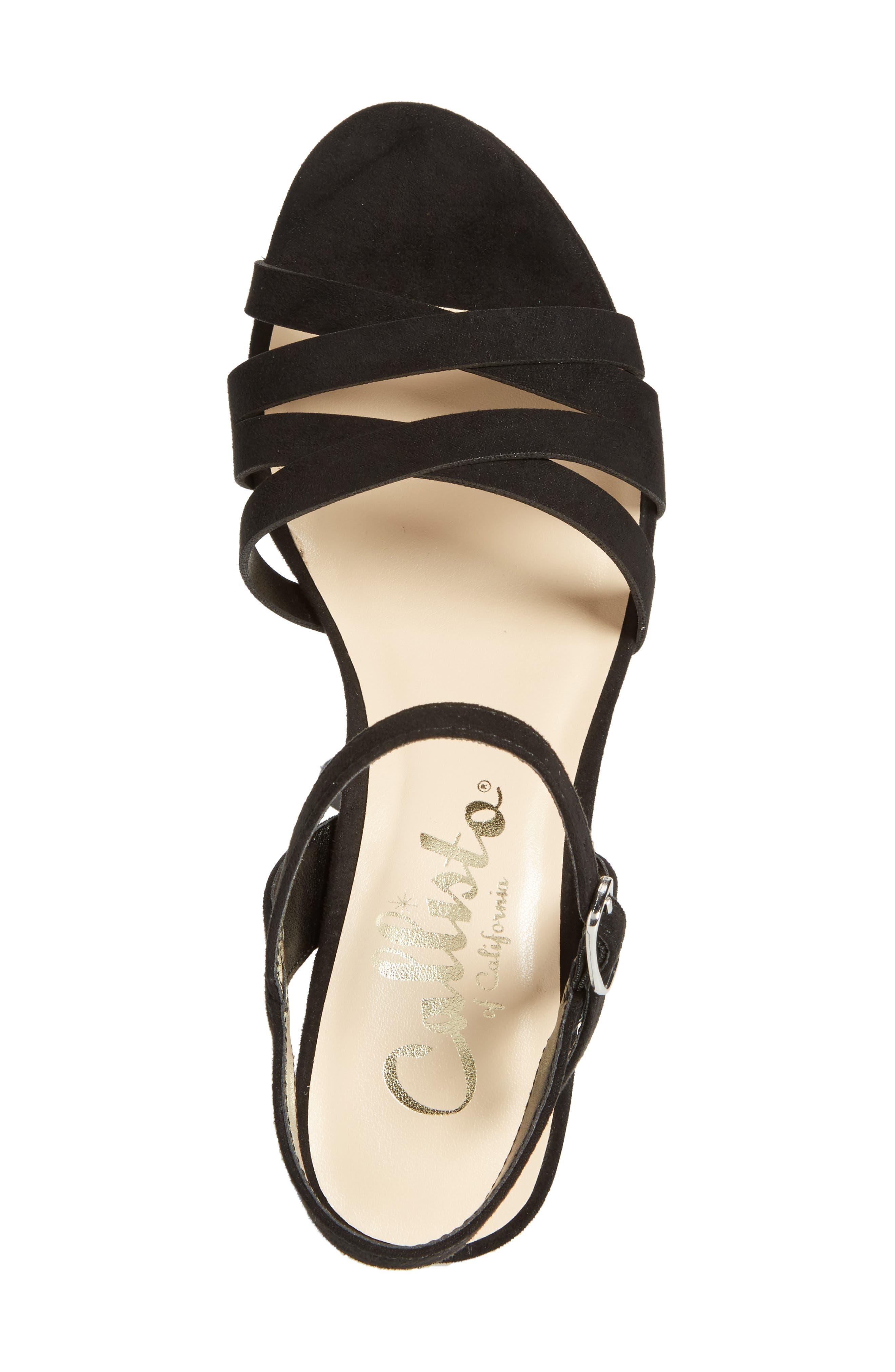 Paxx Platform Sandal,                             Alternate thumbnail 5, color,                             Black Faux Suede