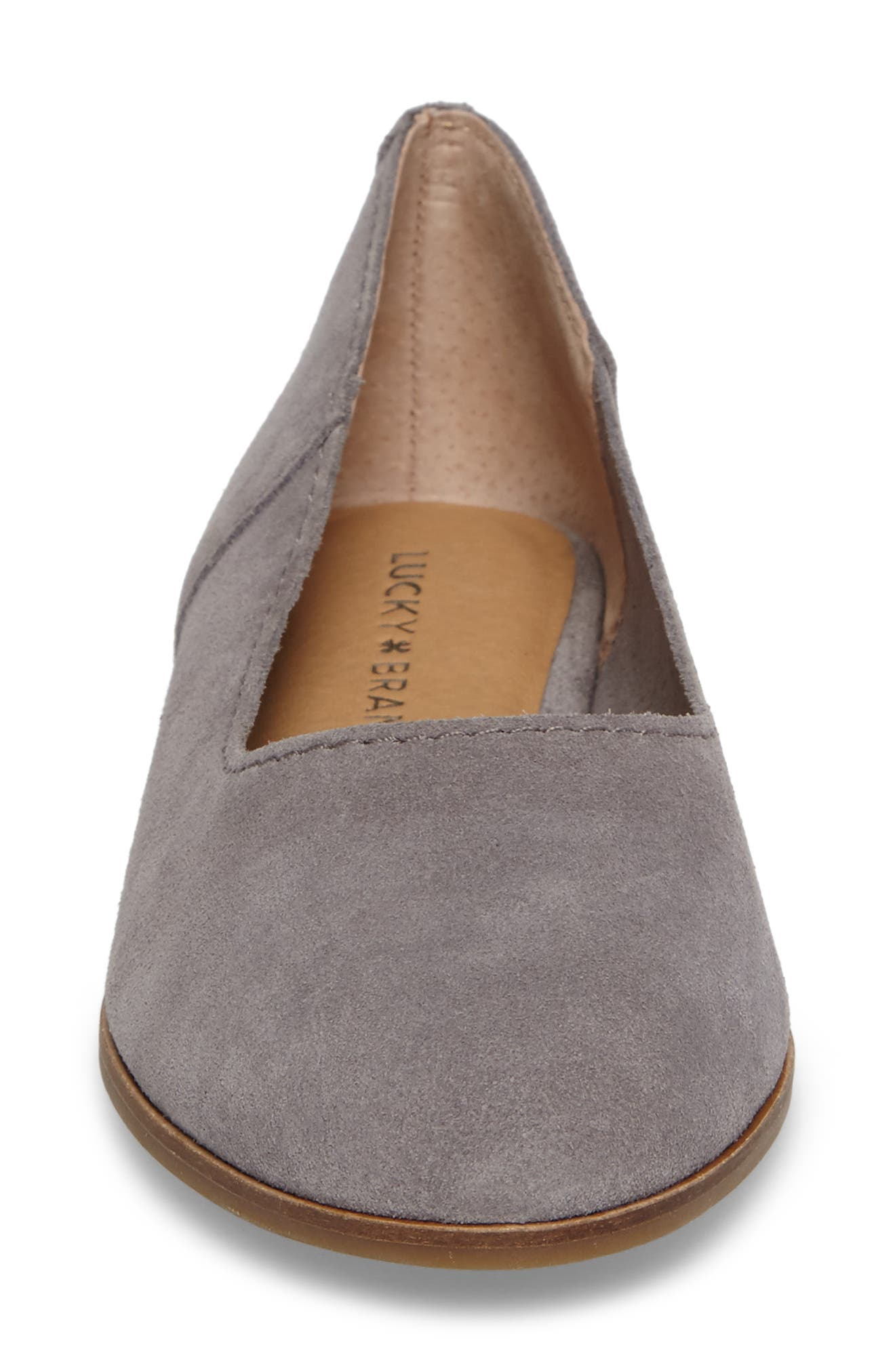 Calandra Flat,                             Alternate thumbnail 4, color,                             Steel Grey Suede