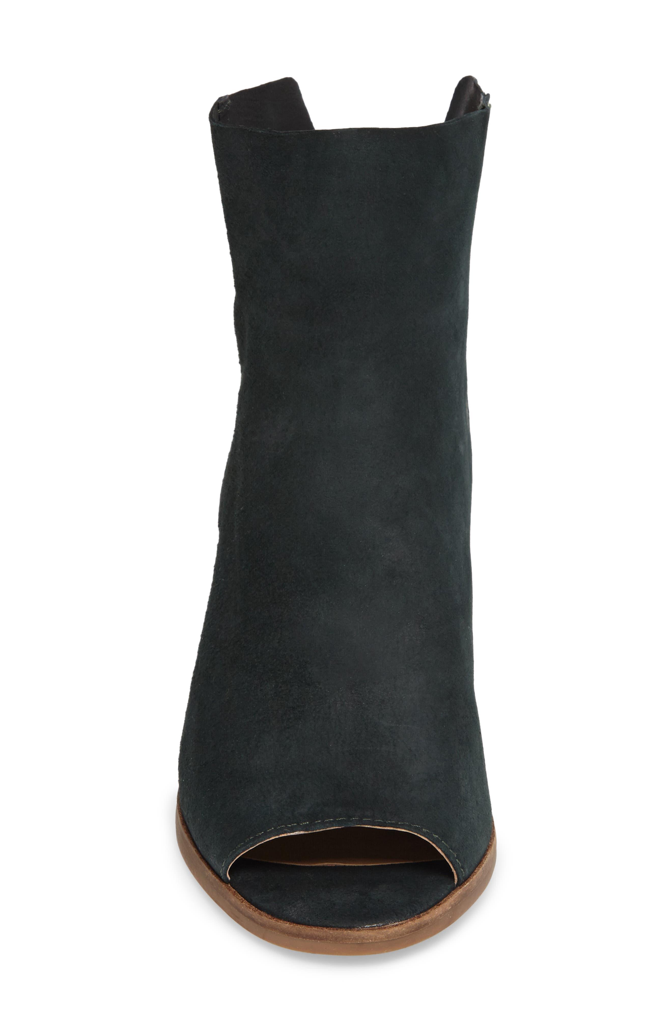 Urbi Peep Toe Bootie,                             Alternate thumbnail 4, color,                             Dark Cyan Leather