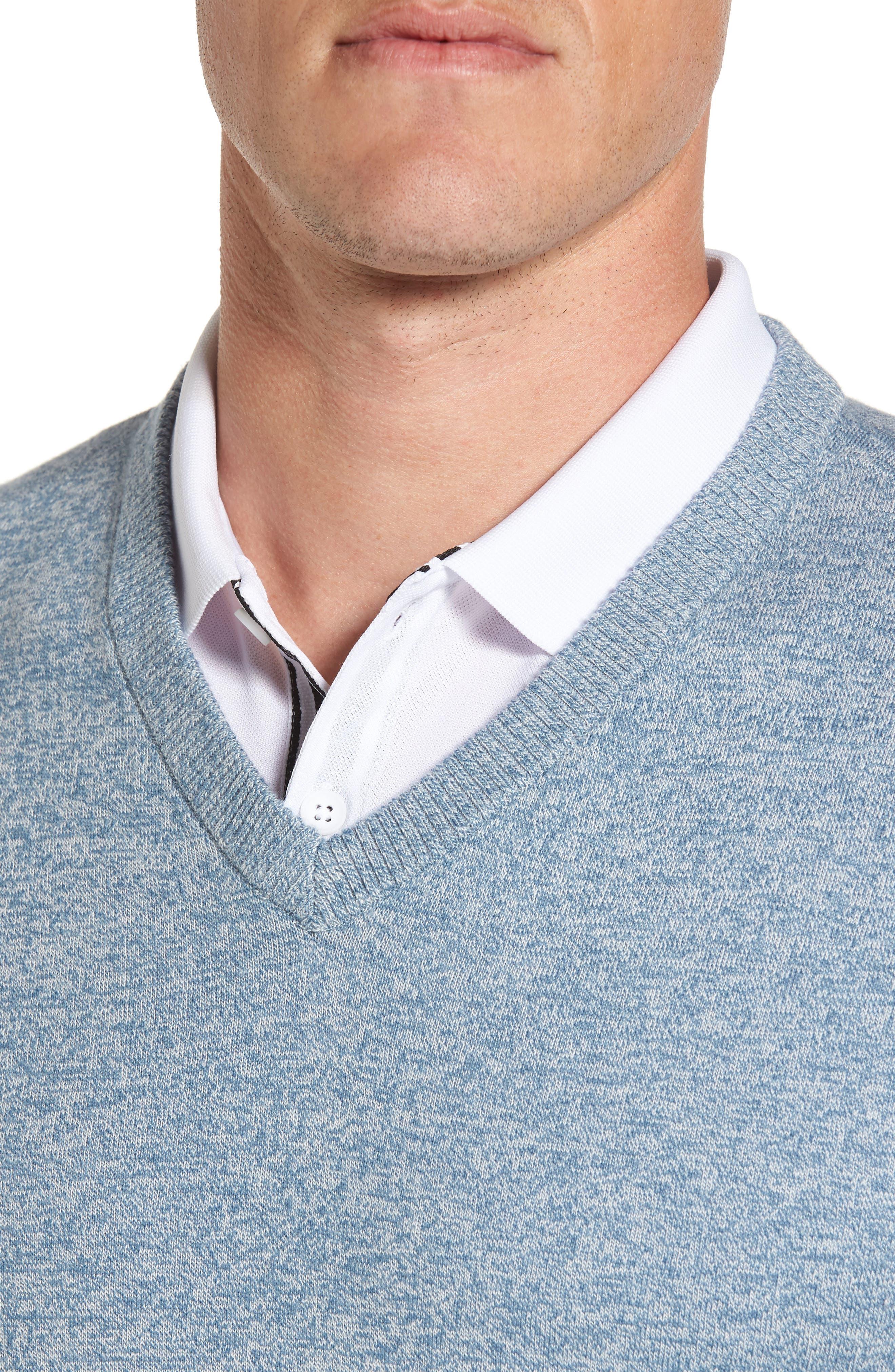 Valley V-Neck Sweater Vest,                             Alternate thumbnail 4, color,                             Blue Print/ White Melange