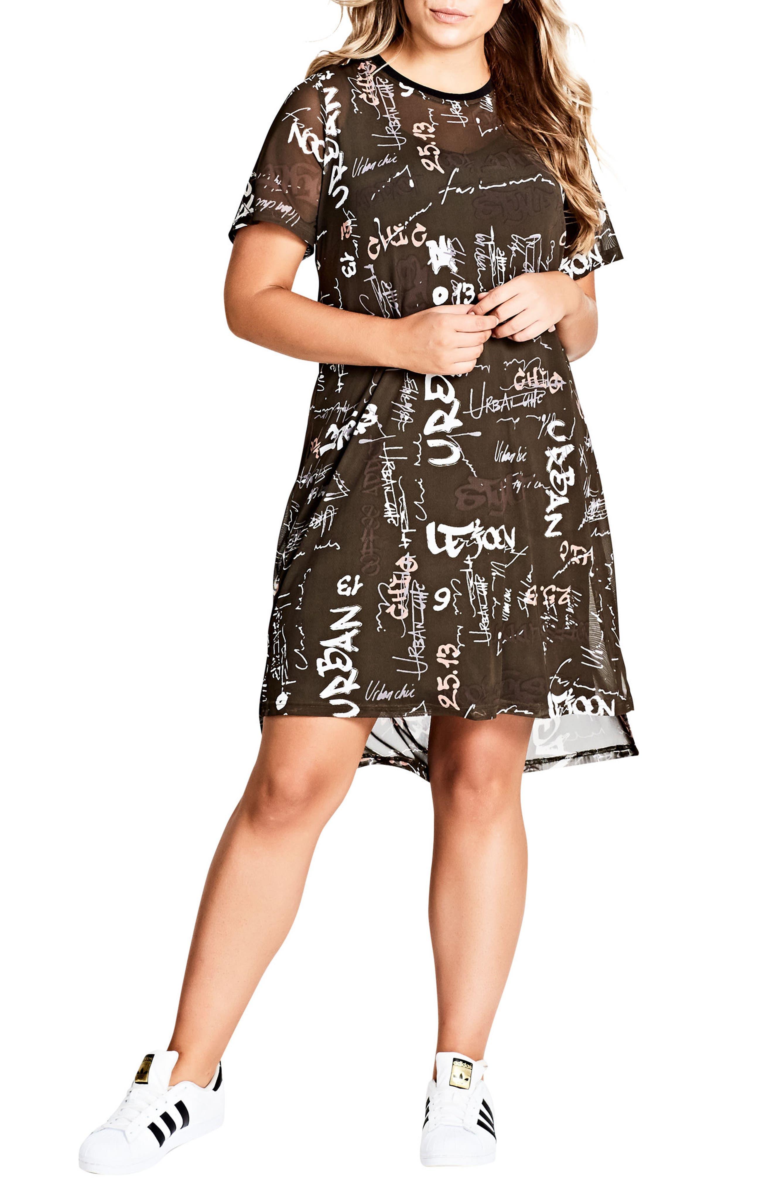 Main Image - City Chic Graffiti Print Shift Dress (Plus Size)