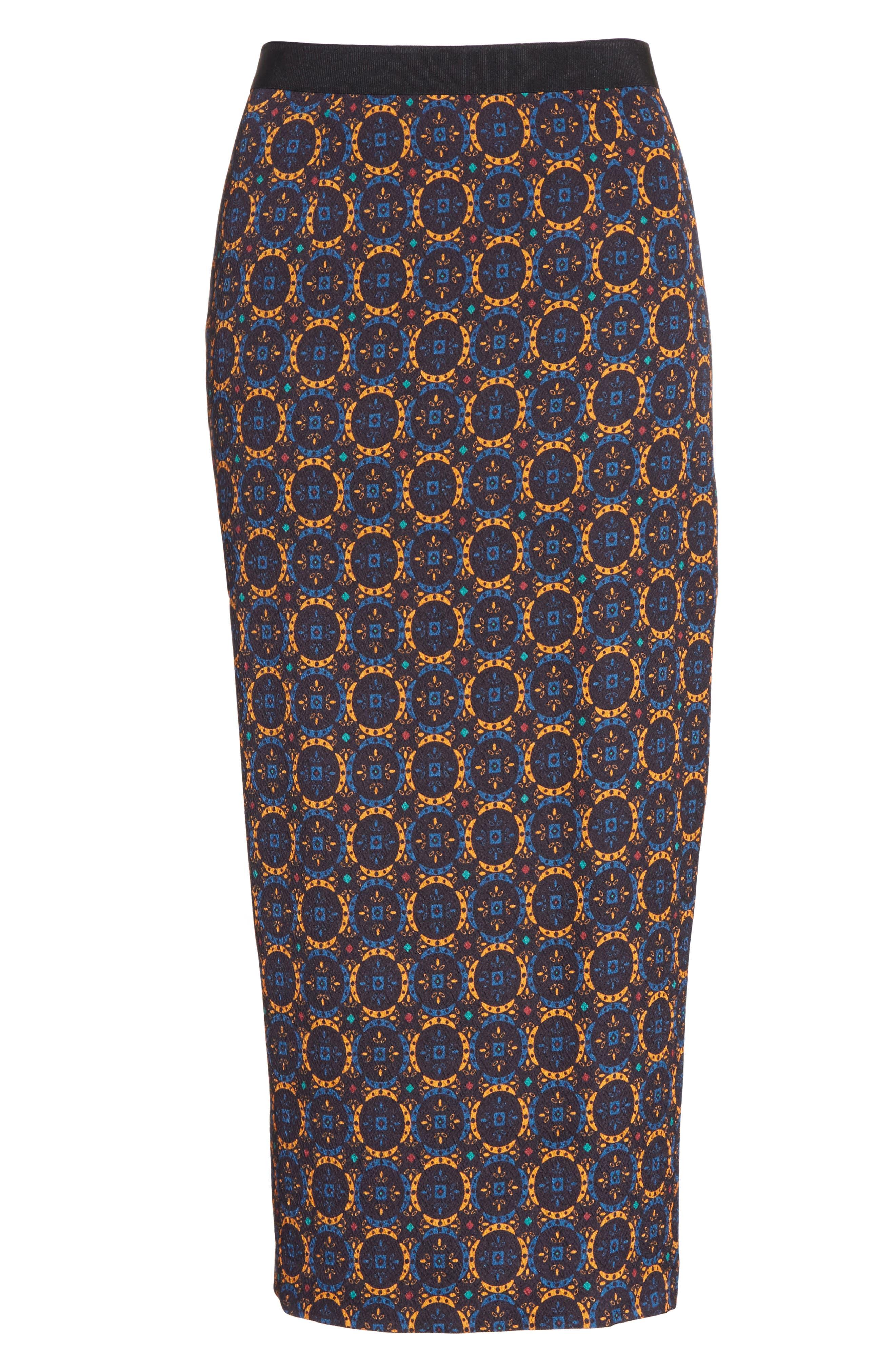 Print Stretch Silk Pencil Skirt,                             Alternate thumbnail 6, color,                             Foulard Placement