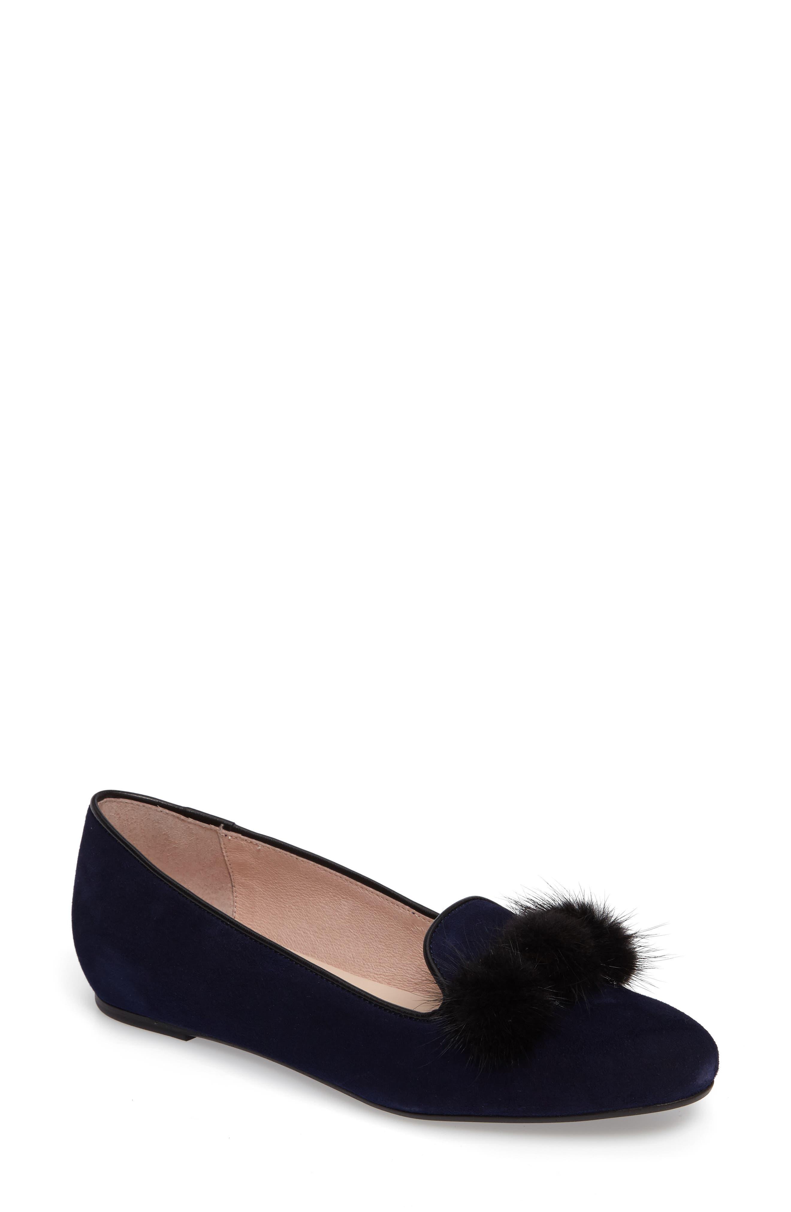 Wallis Genuine Fur Pompom Loafer,                             Main thumbnail 1, color,                             Navy Suede