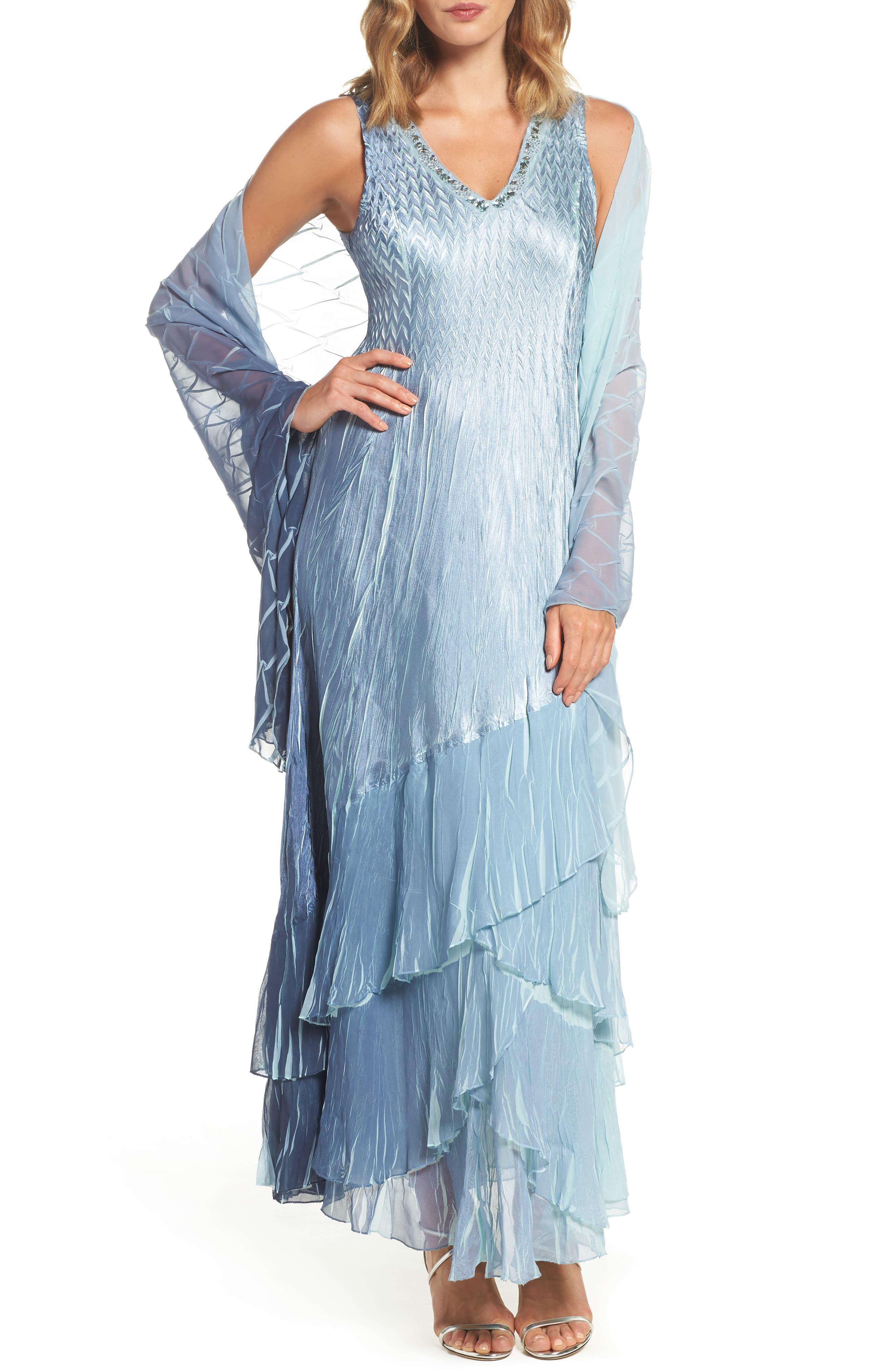 Komarov Embellished Long A-Line Dress