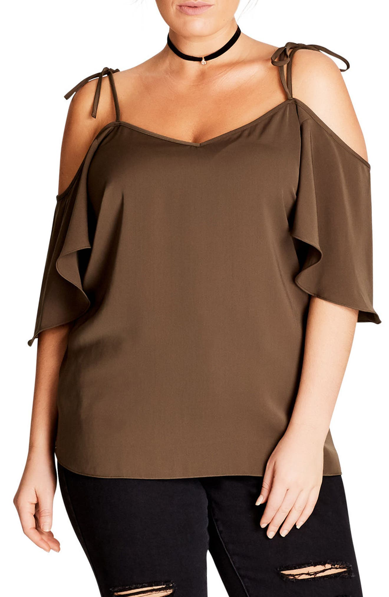 Cold Shoulder Blouse,                         Main,                         color, Khaki