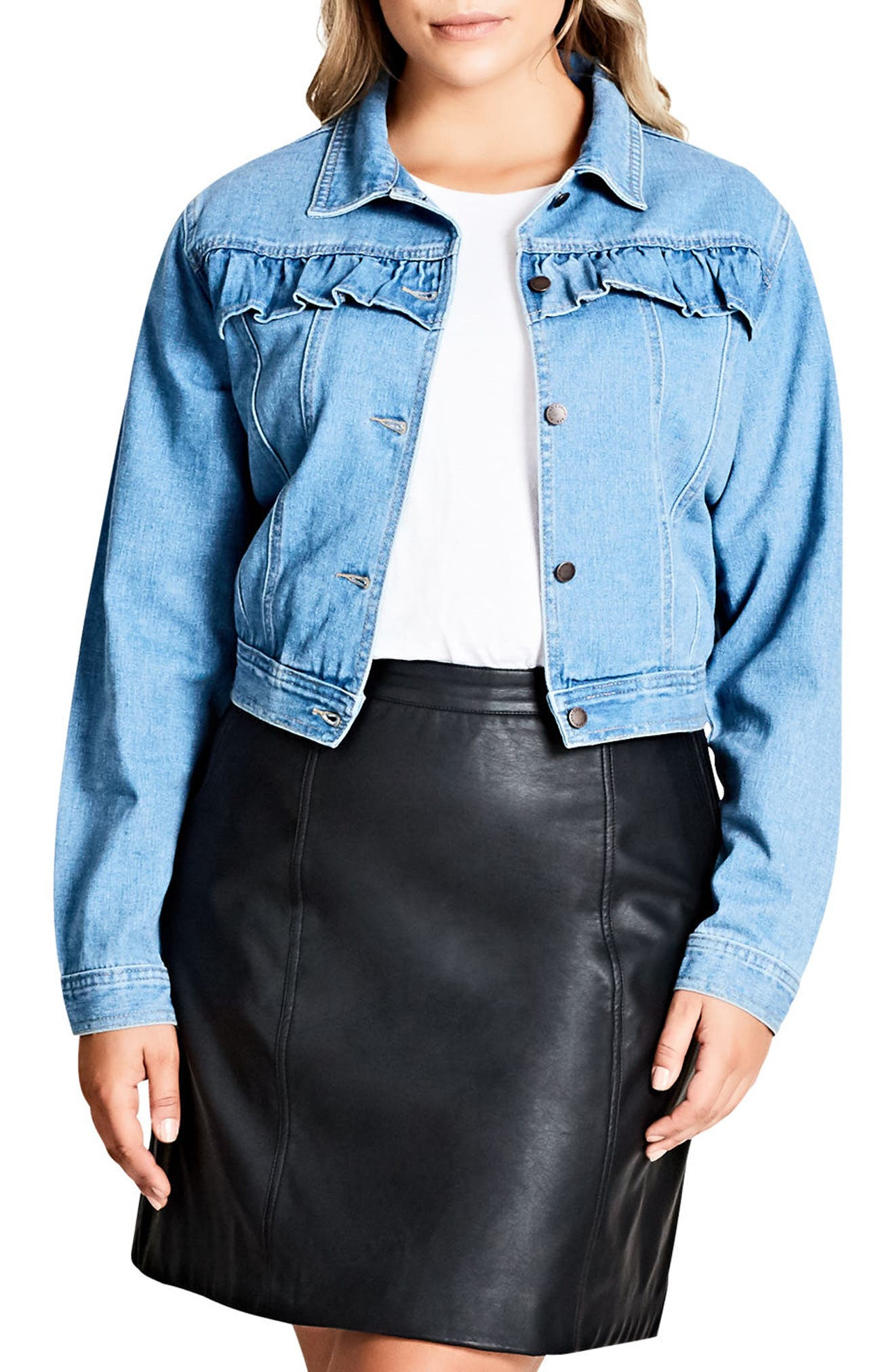 Alternate Image 1 Selected - City Chic Ruffle Denim Jacket (Plus Size)