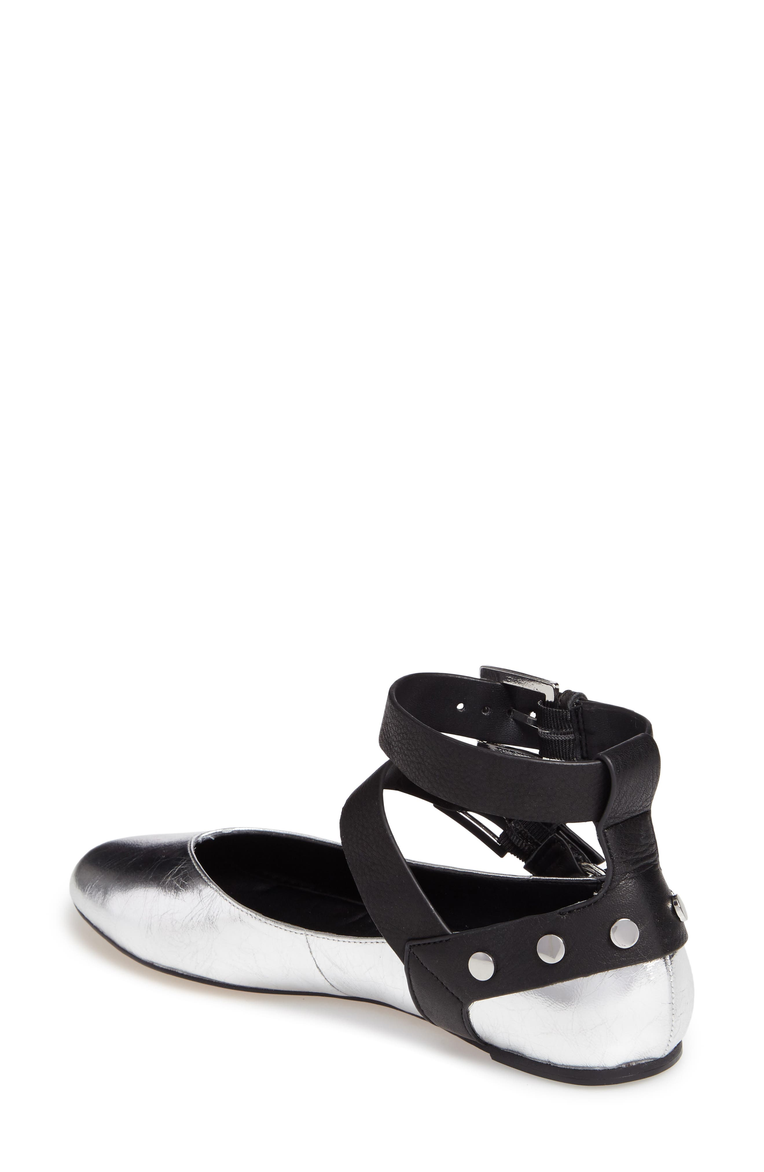 Vivica Ankle Strap Flat,                             Alternate thumbnail 3, color,                             Silver Leather