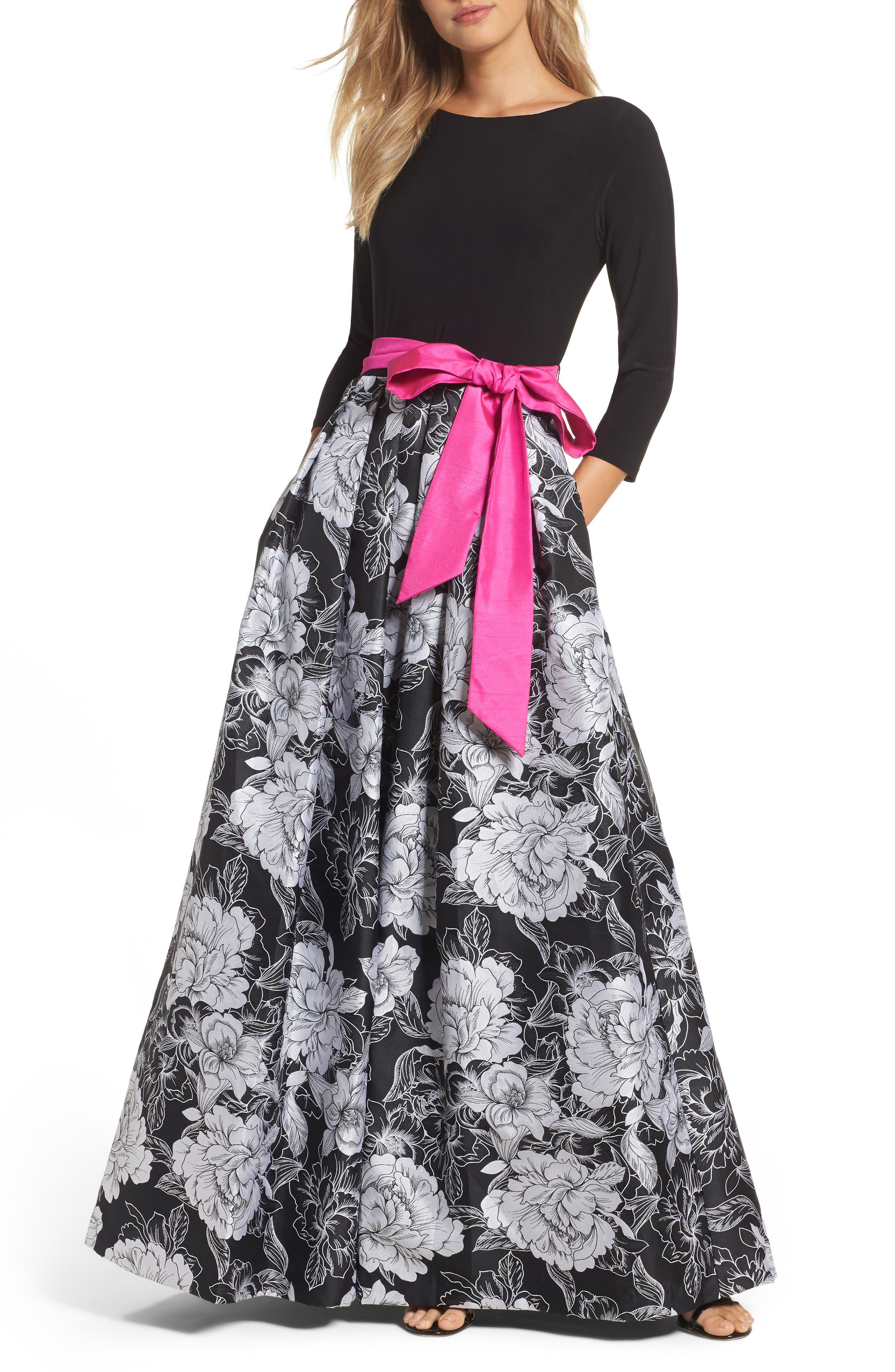 Eliza J Belted Floral Skirt Ballgown