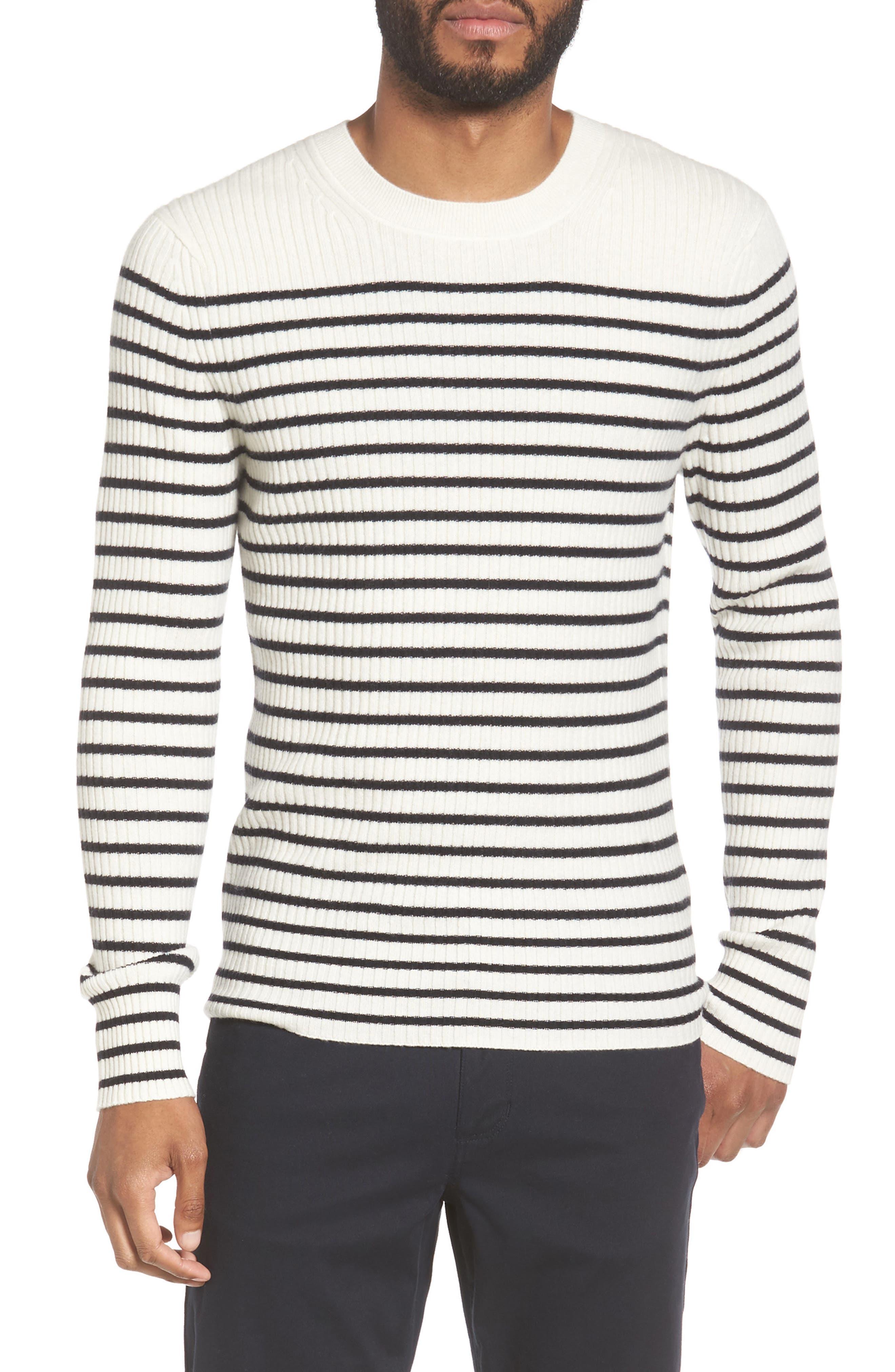 Vince Slim Fit Breton Stripe Cashmere Crewneck Sweater