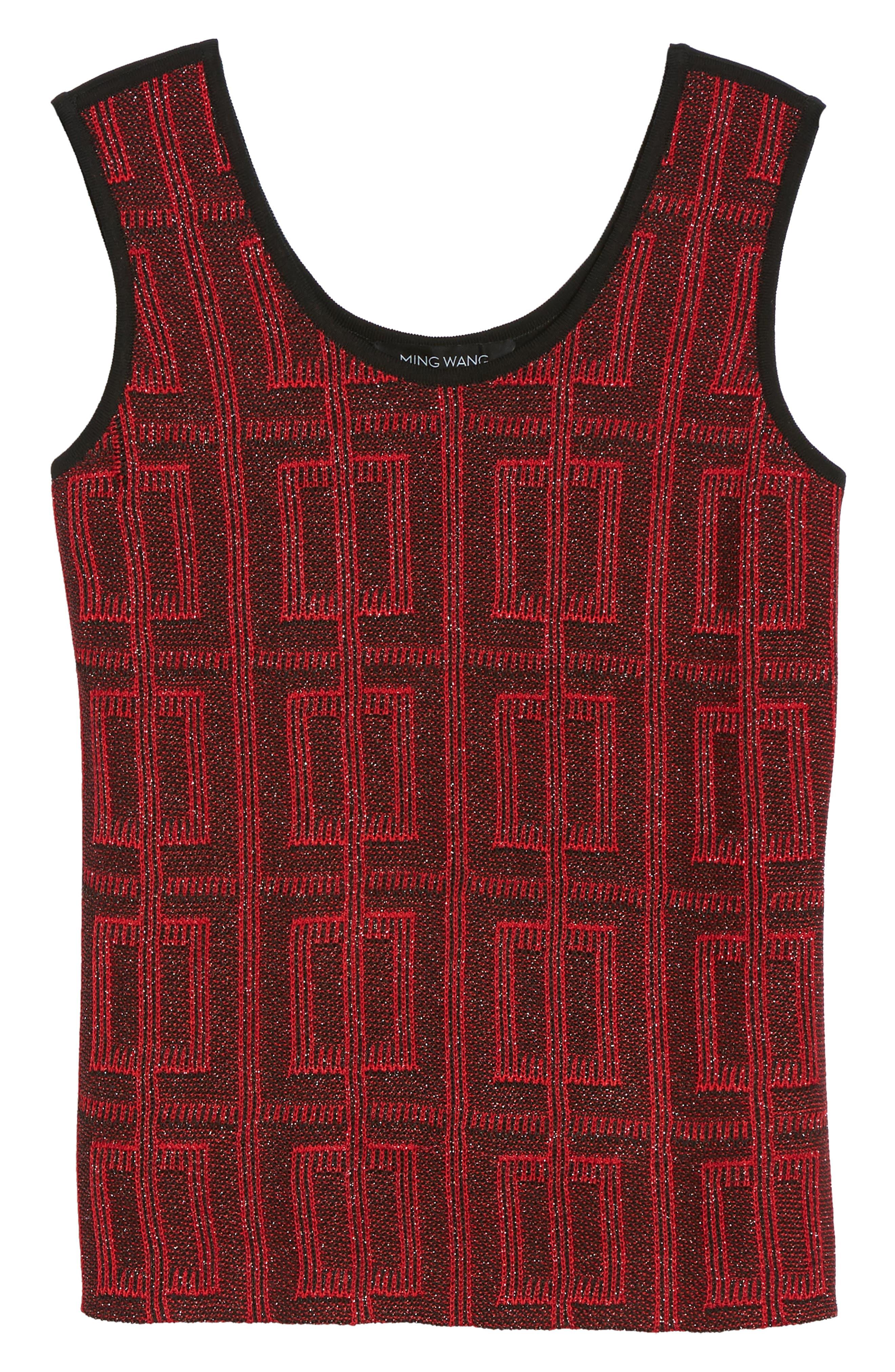 Scoop Neck Tweed Knit,                             Alternate thumbnail 6, color,                             Dusk Red/ Black