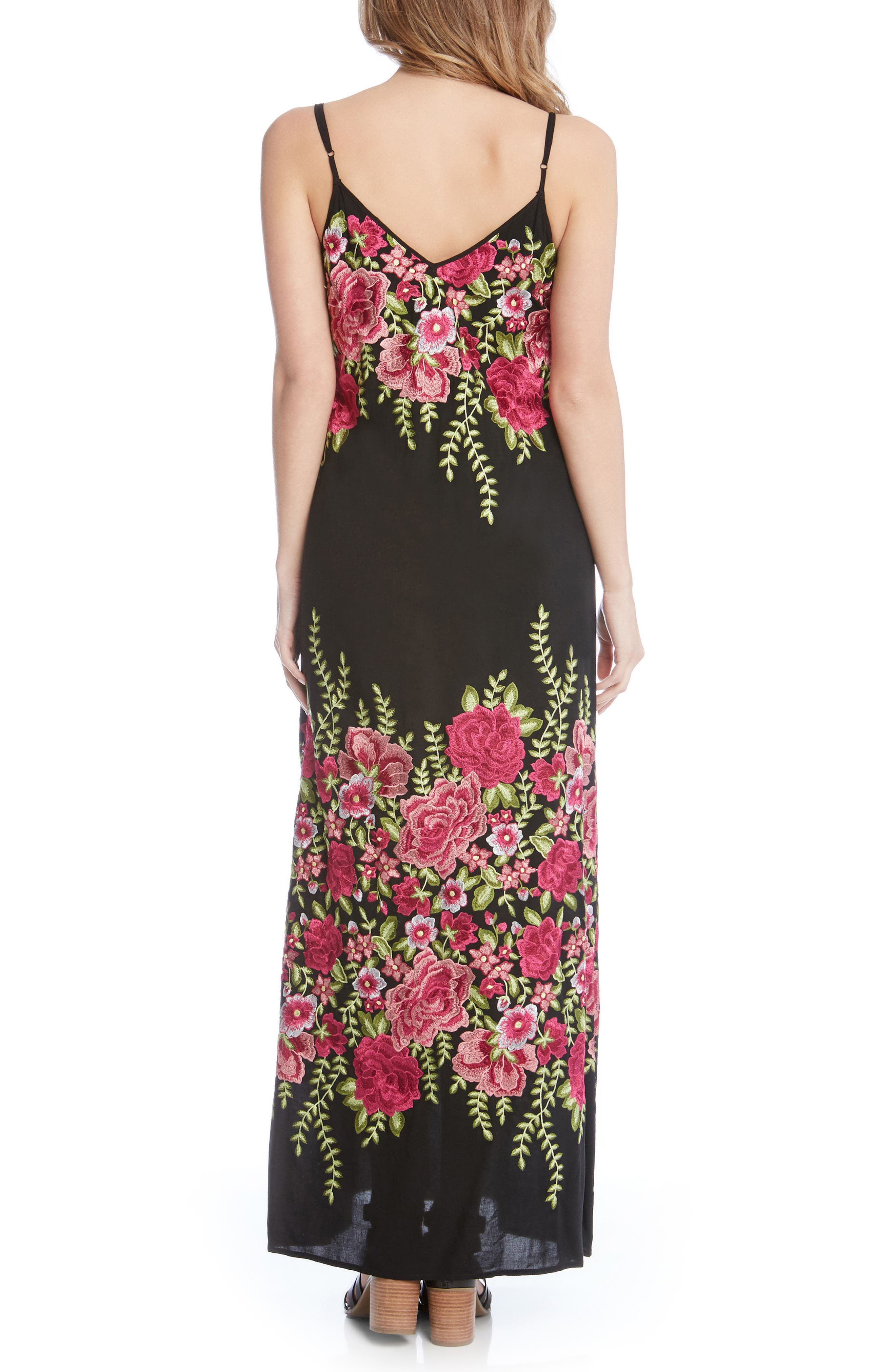 Floral Embroidered Maxi Dress,                             Alternate thumbnail 3, color,                             Black/ Embroidery
