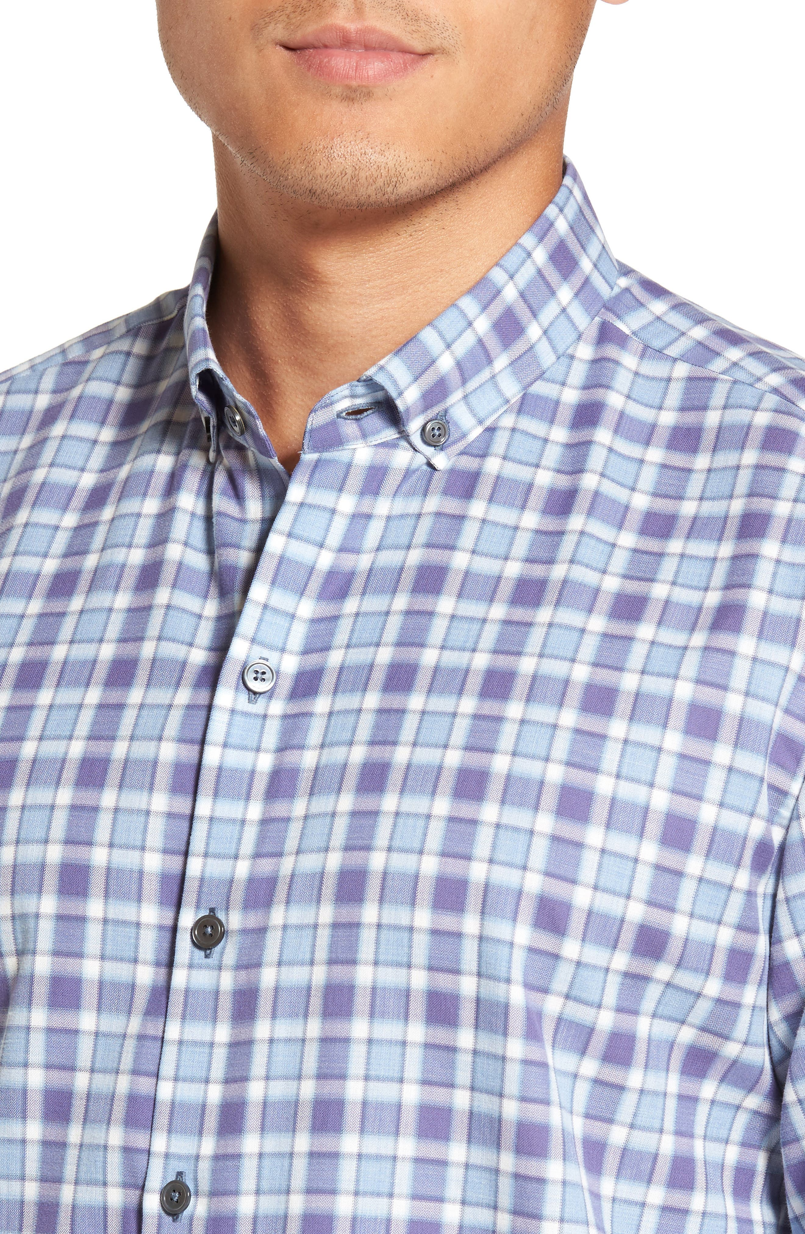 Lobban Slim Fit Check Sport Shirt,                             Alternate thumbnail 2, color,                             Purple