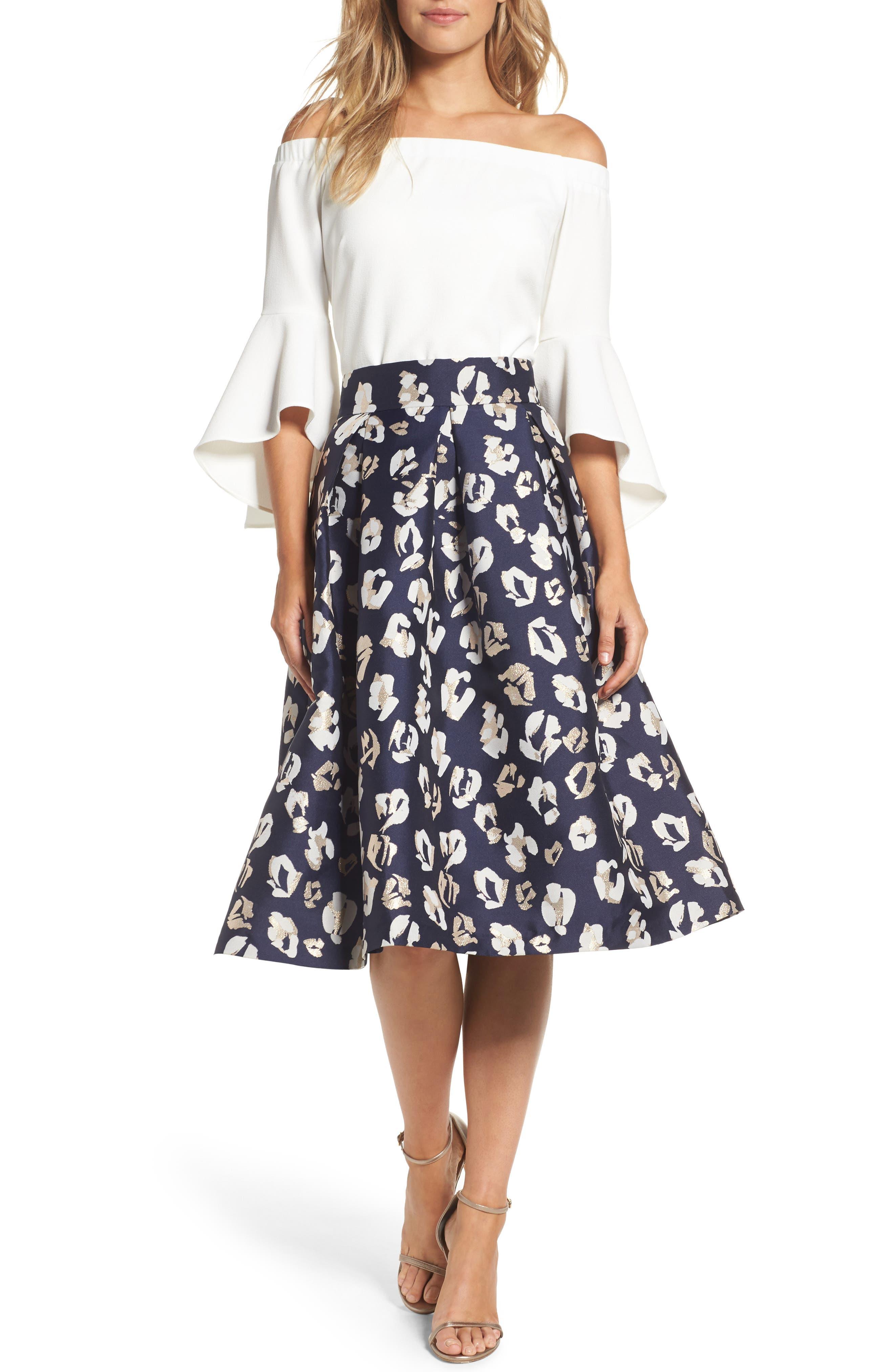 ELIZA J Pleated Abstract Jacquard Skirt
