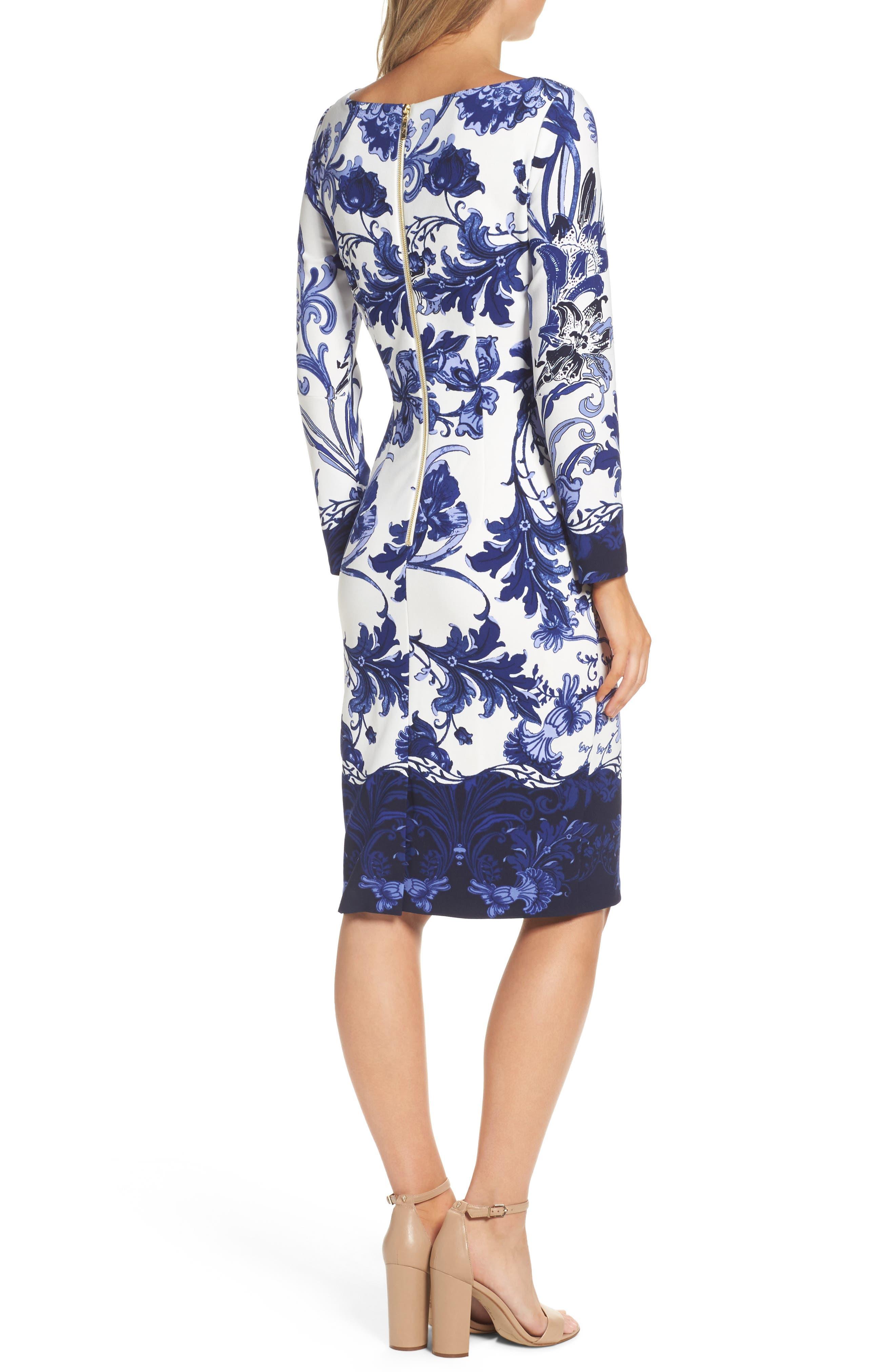 Alternate Image 2  - Eliza J Print Long Sleeve Sheath Dress
