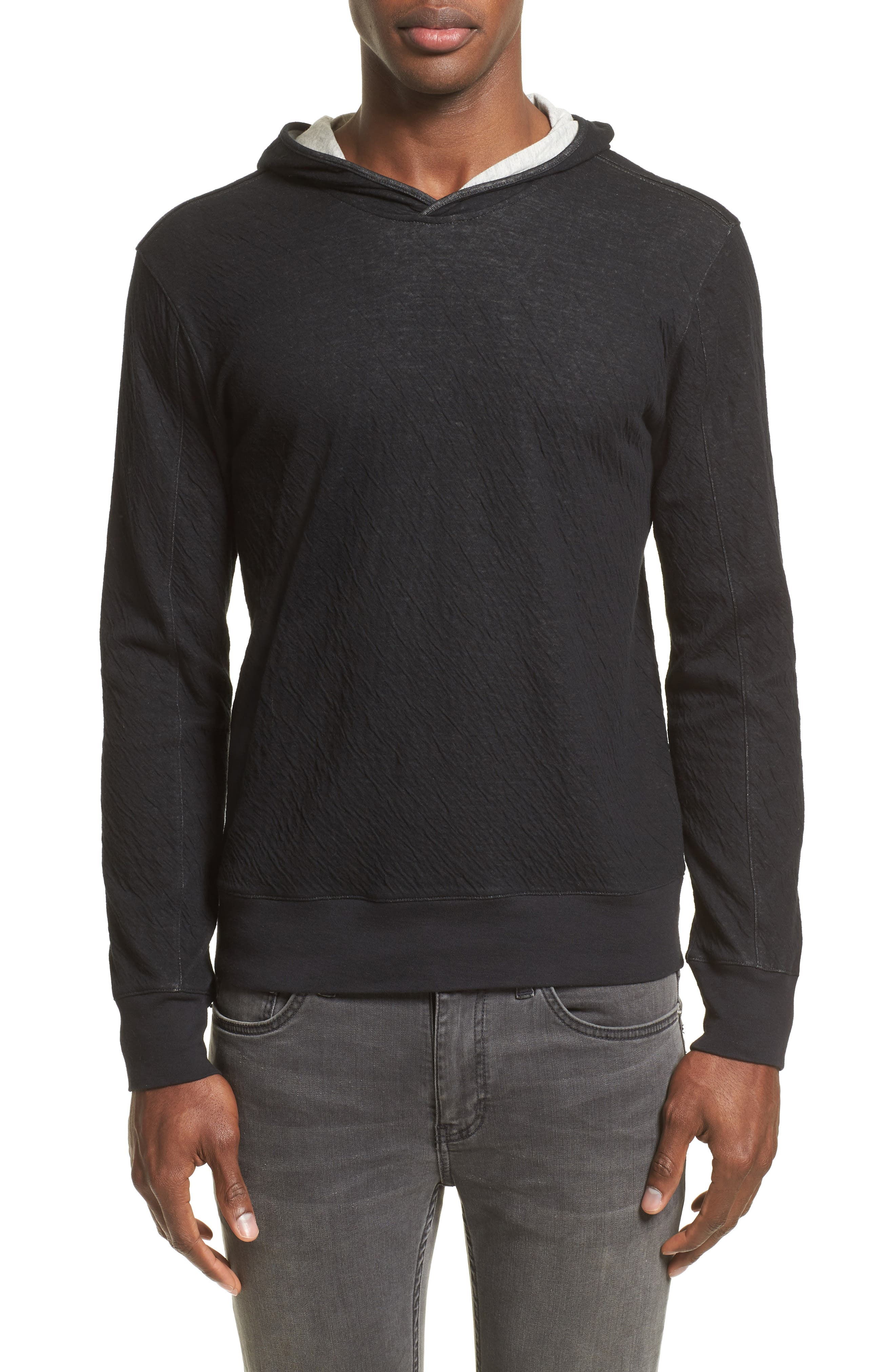 John Varvatos Collection Crinkle Finish Hoodie