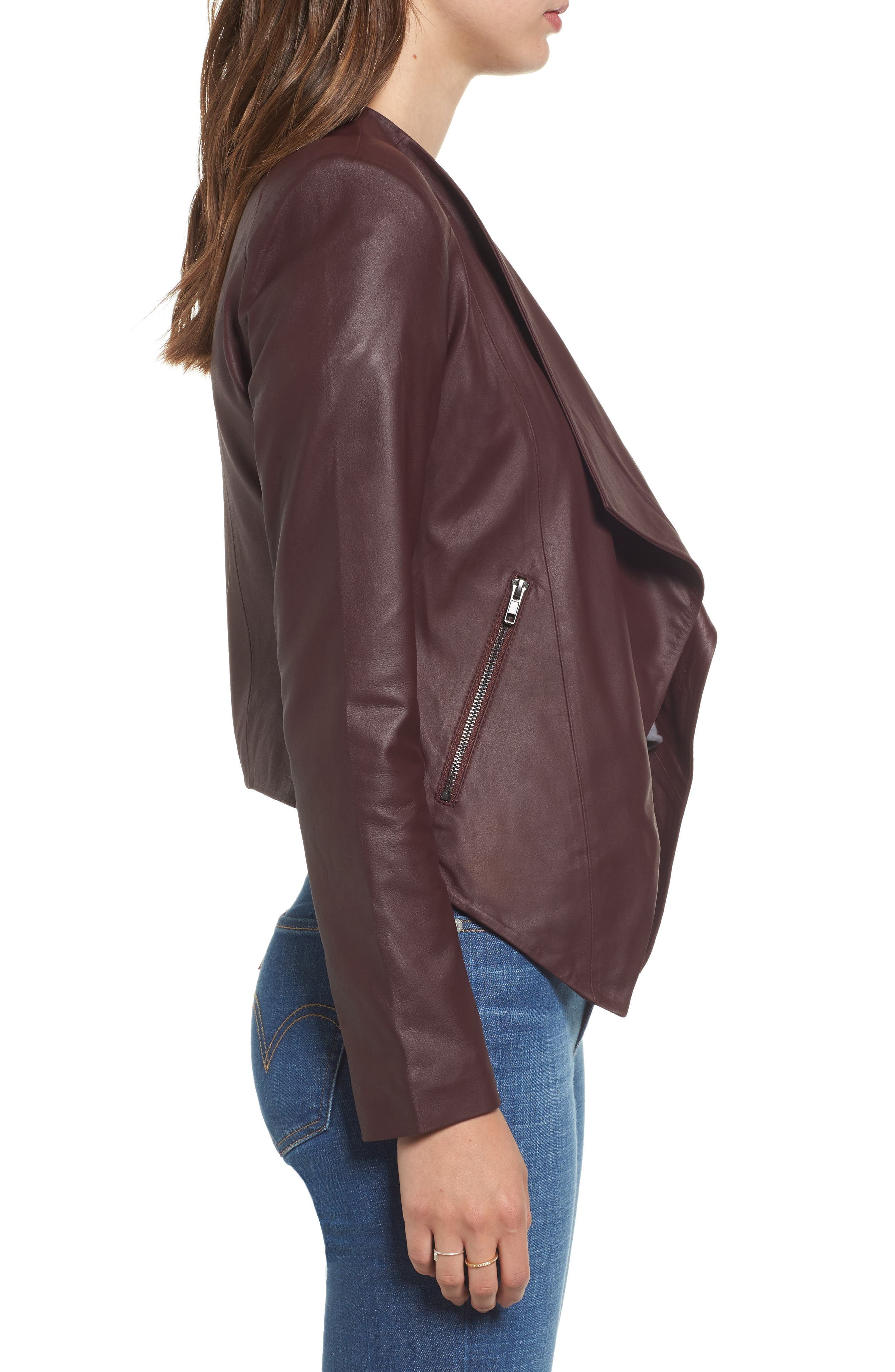 Brycen Leather Drape Front Jacket,                             Alternate thumbnail 3, color,                             Fig