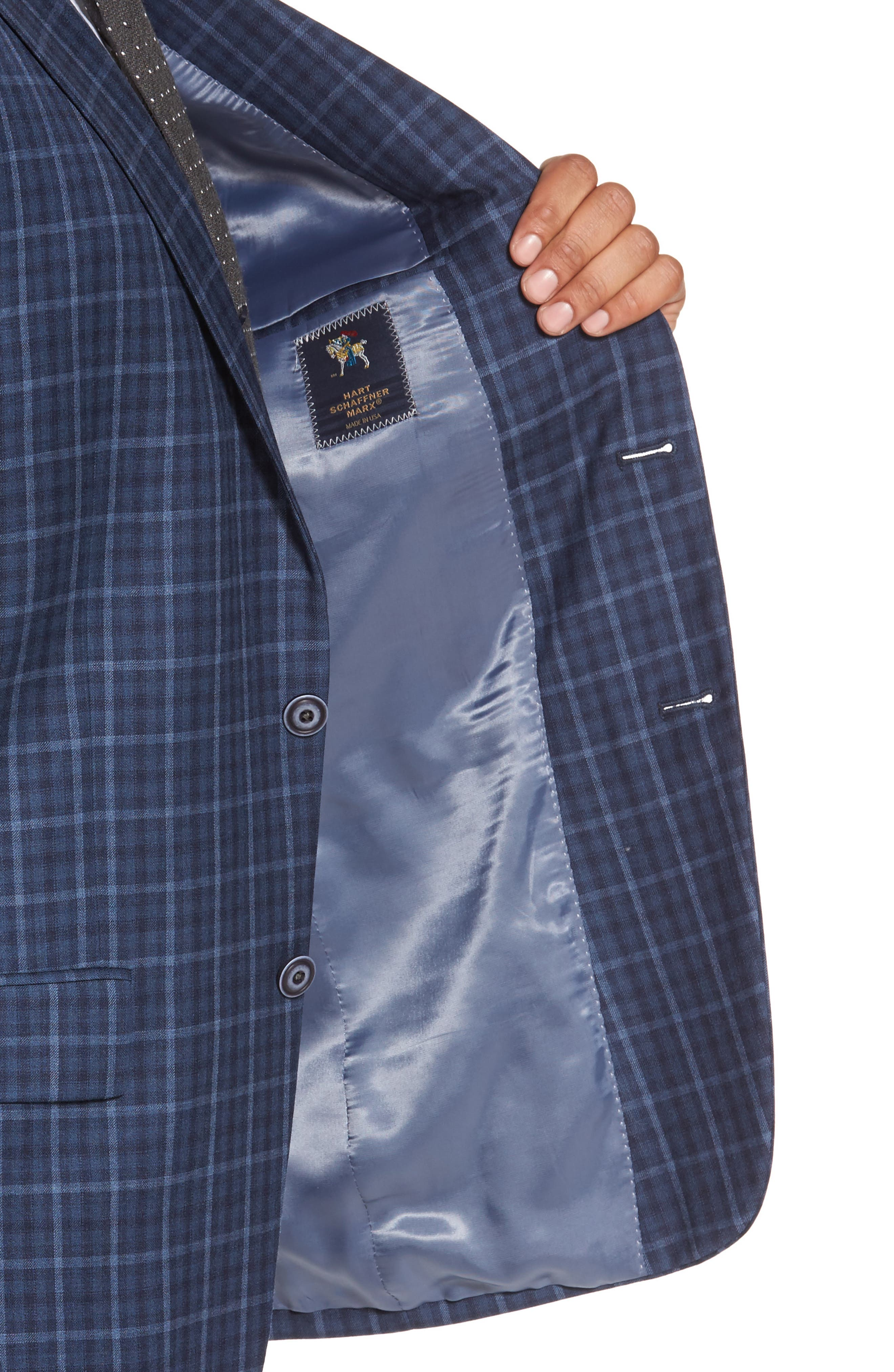 Classic Fit Check Wool Sport Coat,                             Alternate thumbnail 4, color,                             Medium Blue