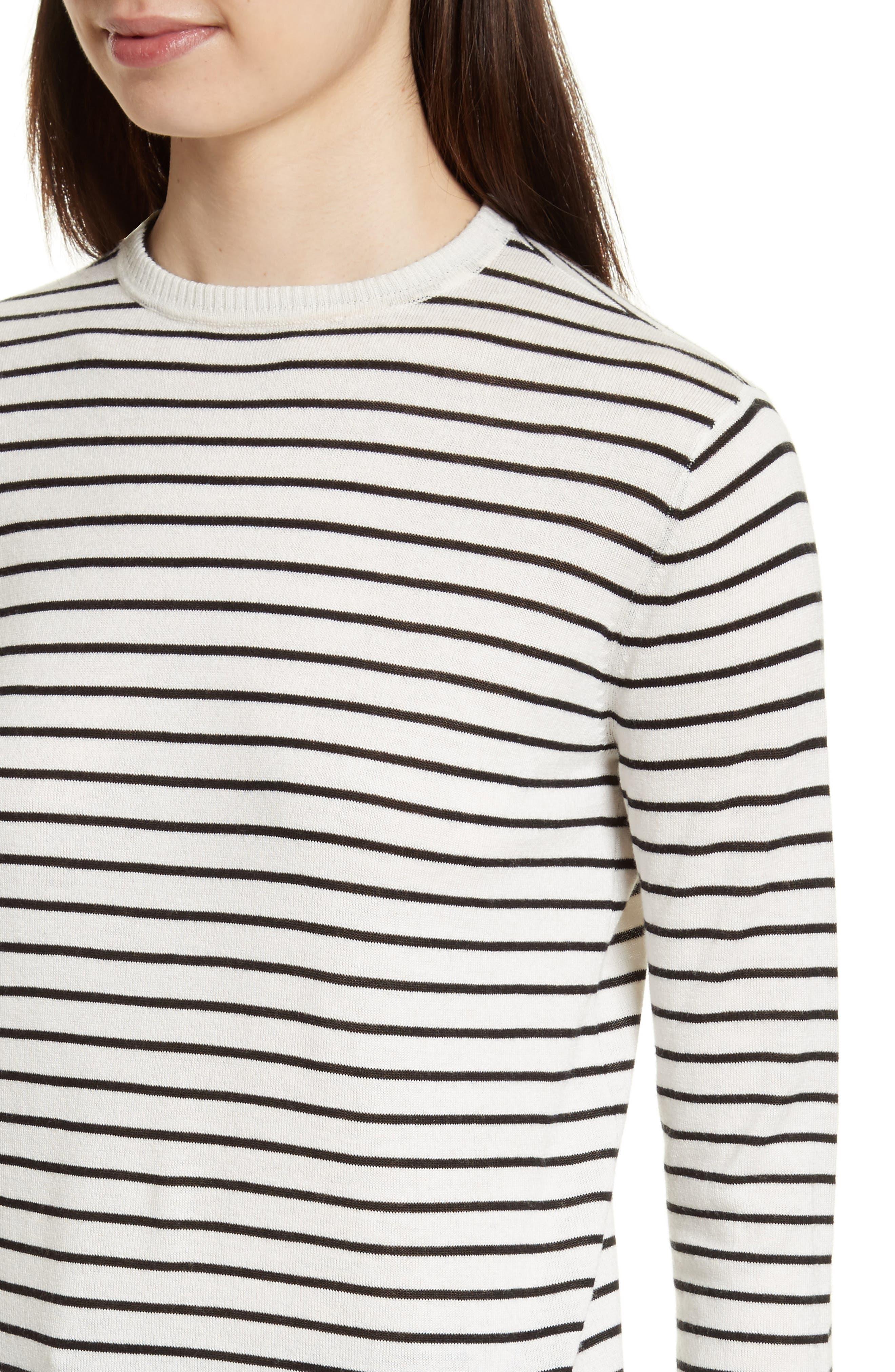 Stripe Silk Blend Sweater,                             Alternate thumbnail 4, color,                             Chalk/ Black