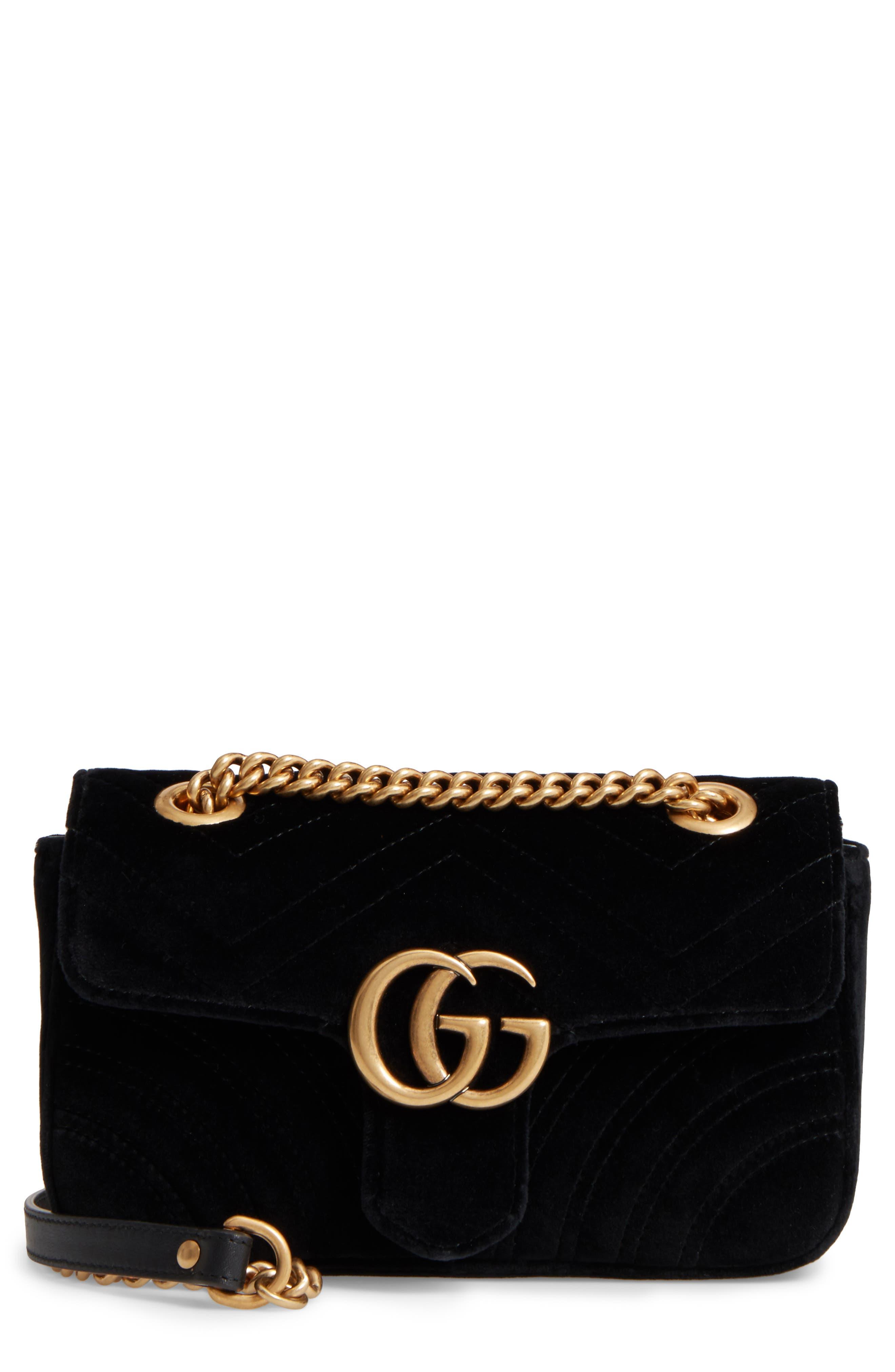 Alternate Image 1 Selected - Gucci Small GG Marmont 2.0 Matelassé Velvet Shoulder Bag