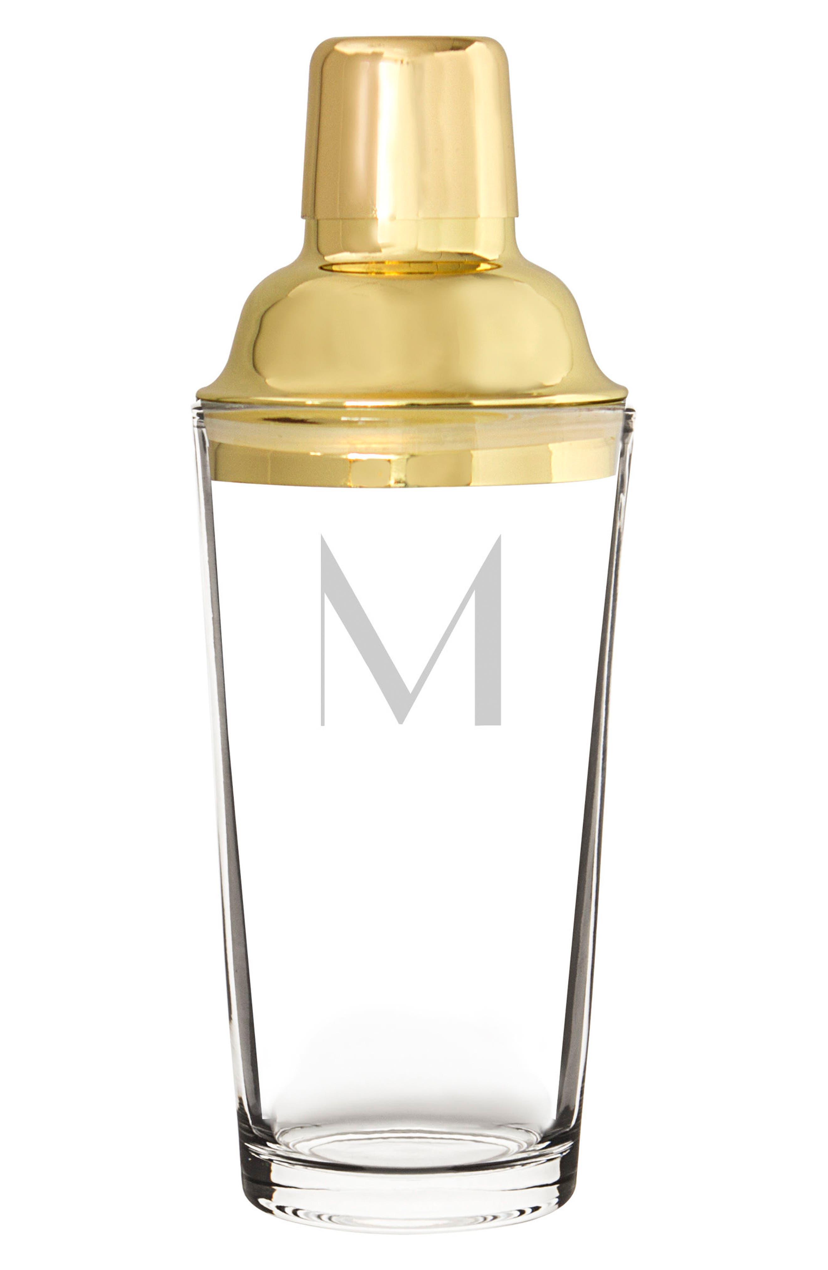 Monogram Martini Glasses & Goldtone Cocktail Shaker,                             Alternate thumbnail 3, color,